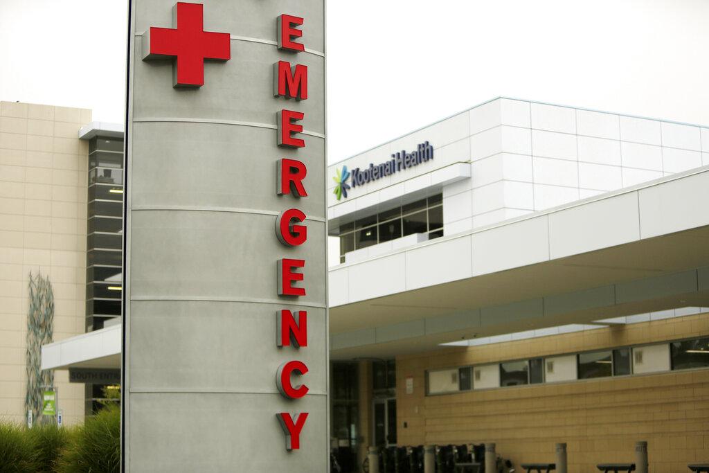 An emergency sign at Kootenai Health, in Coeur d'Alene, Idaho.