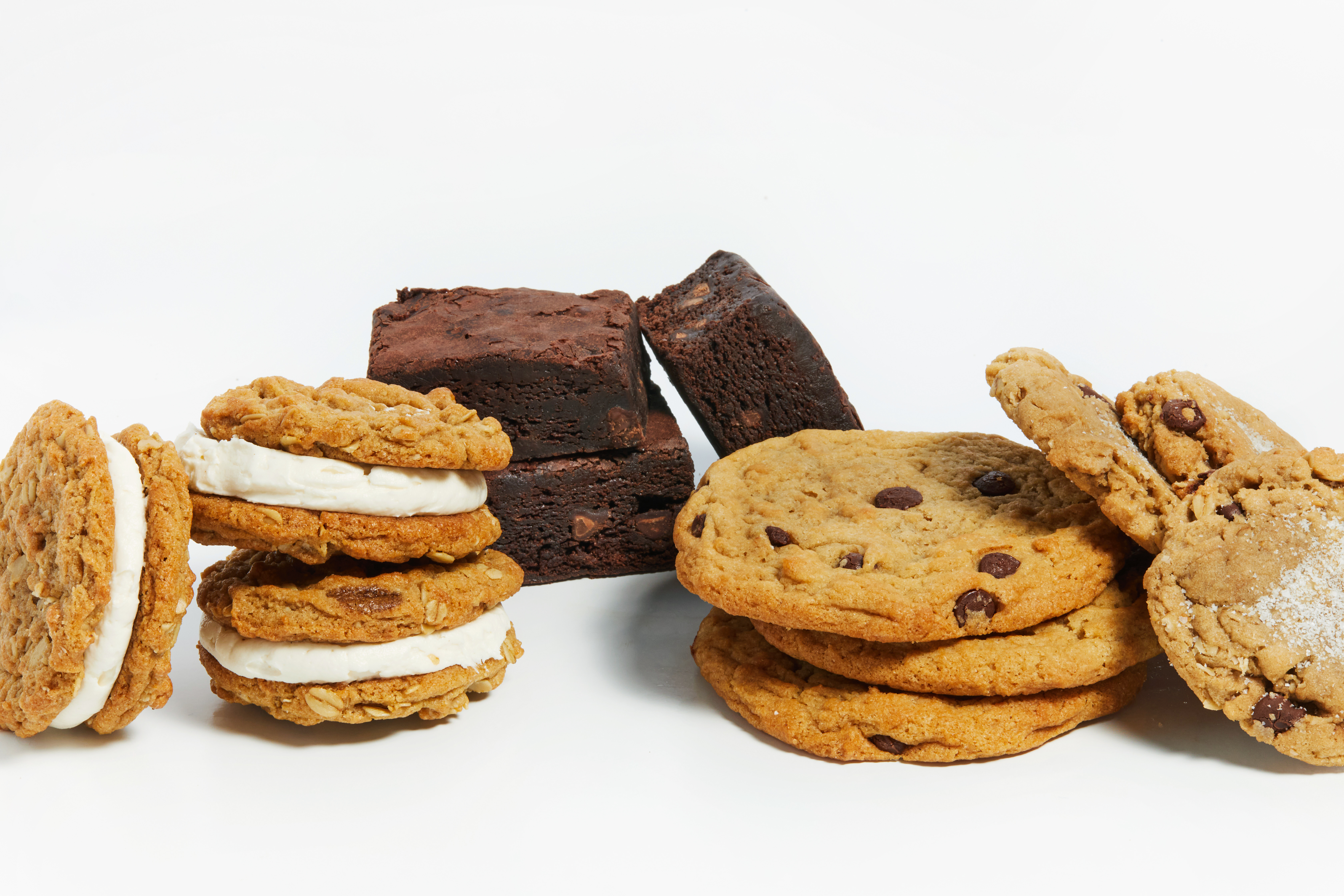 Sticky Fingers is known for its vanilla cream-filled oatmeal cookie sandwiches and Fudgetastic Brownies