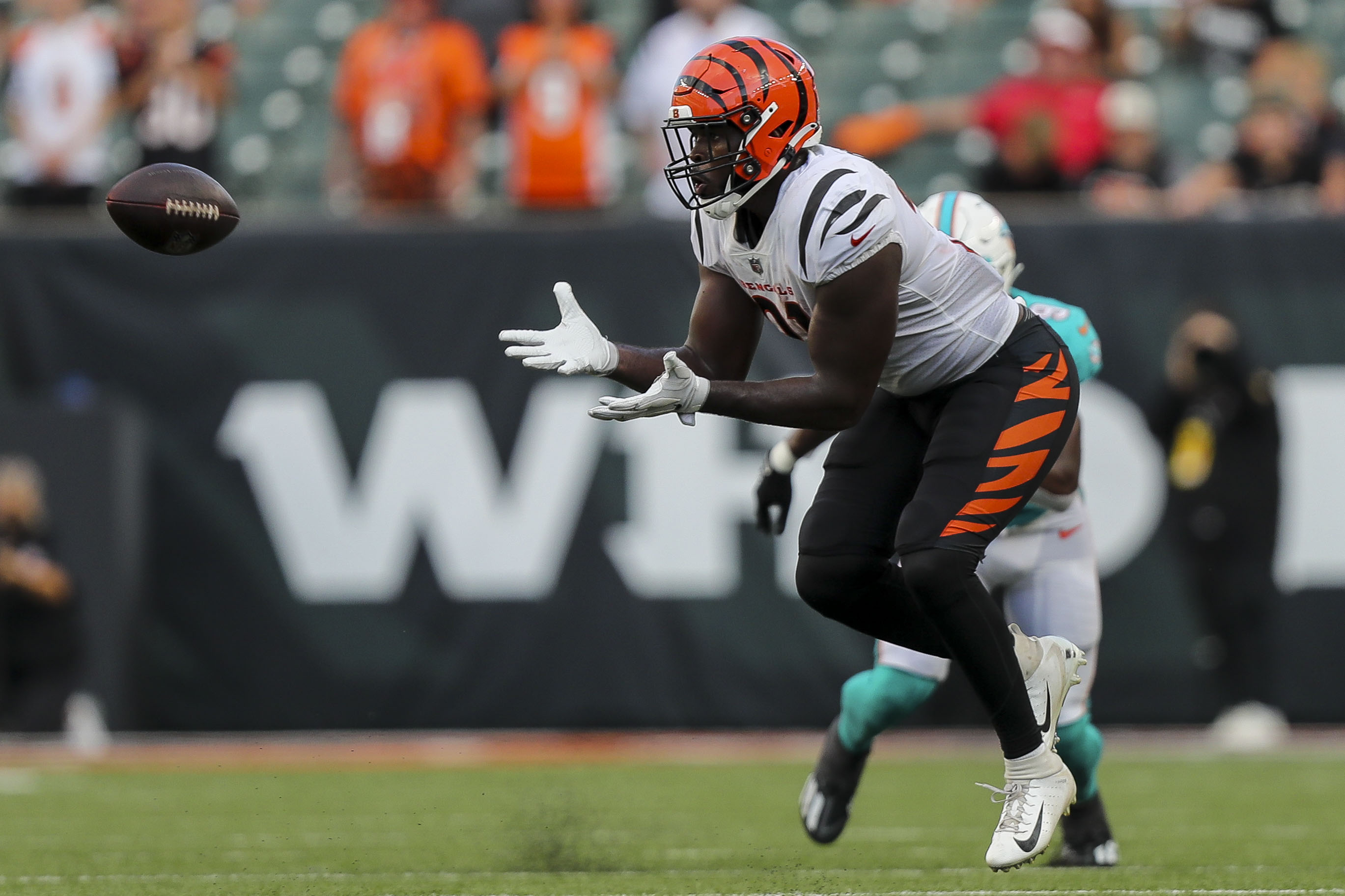 Cincinnati Bengals running back Jacques Patrick (31) catches a pass against the Miami Dolphins in the second half at Paul Brown Stadium.