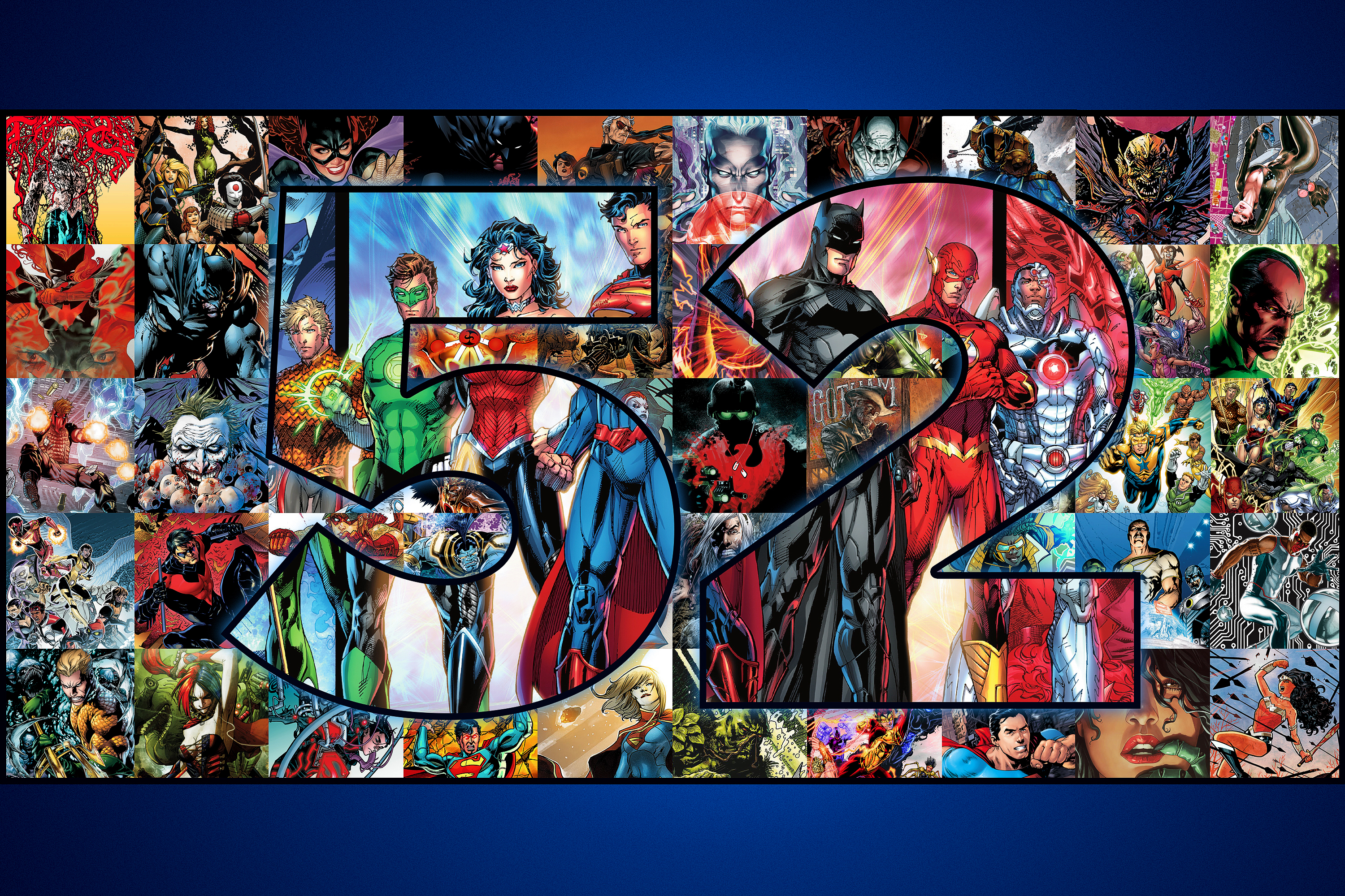 """Graphic grid featuring 52 images from DC Comics """"New 52"""""""