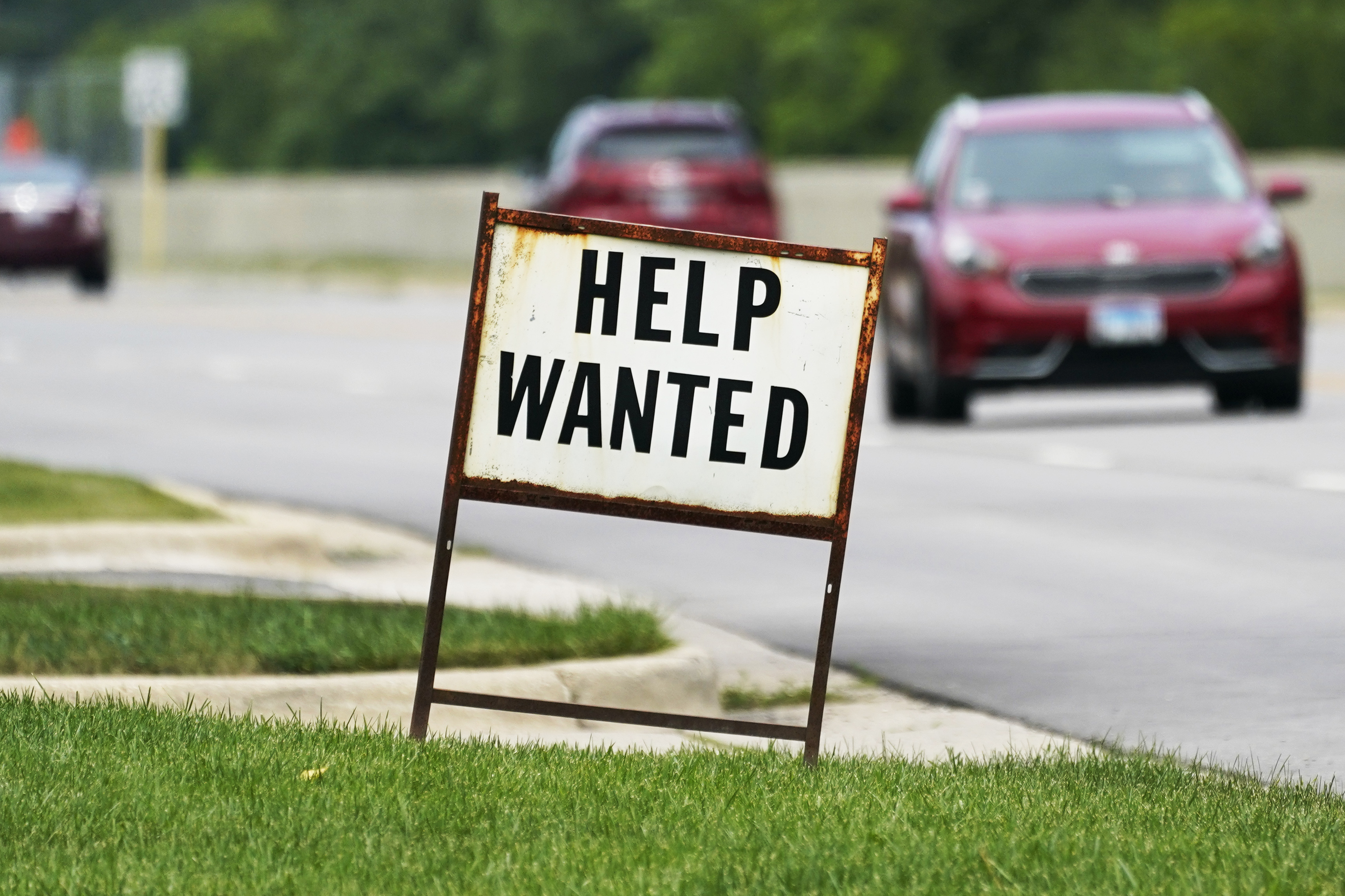 A help-wanted sign in Mount Prospect, Illinois.