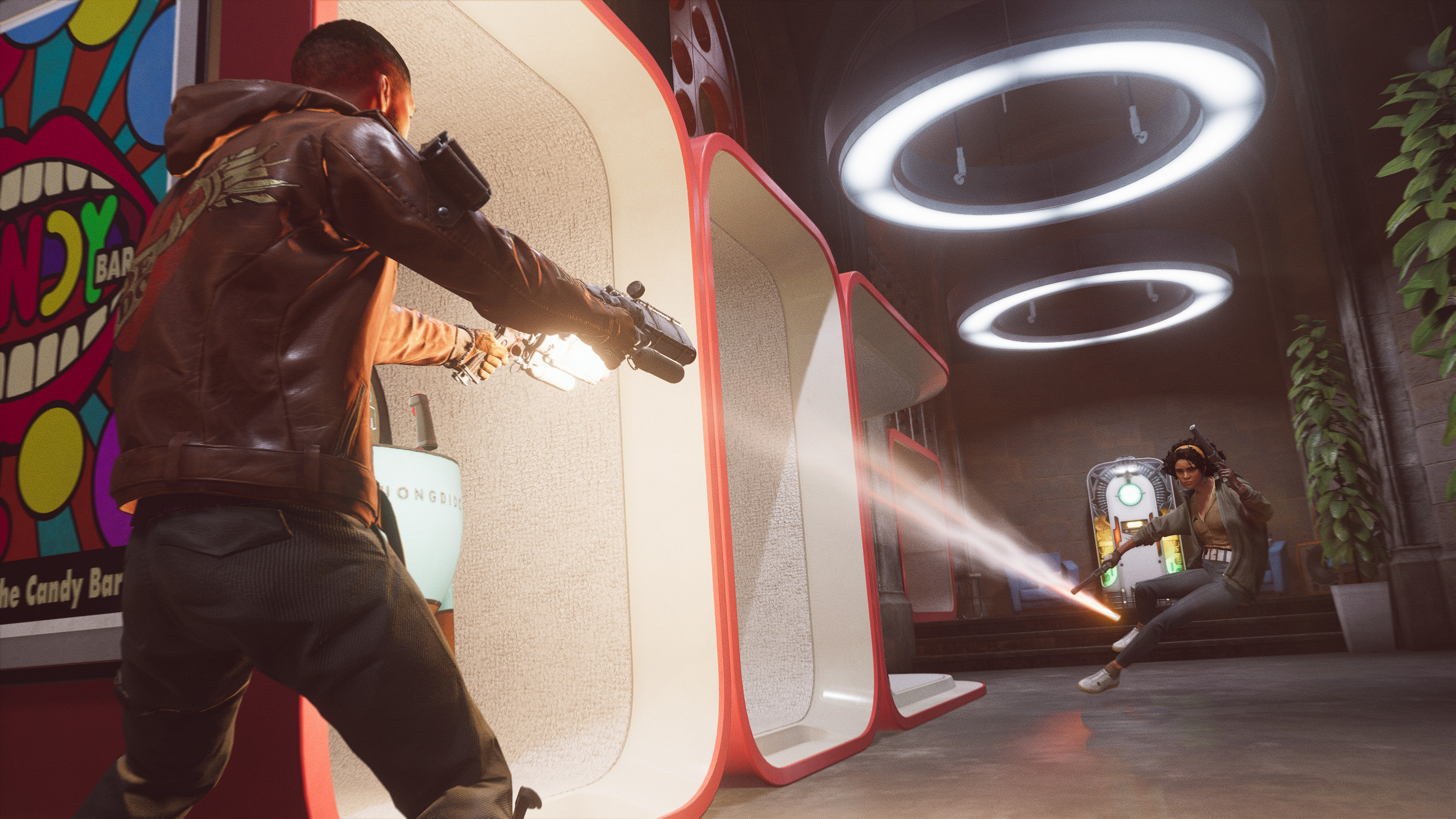 A character shoots down a hallway at another character as she jumps out of the way