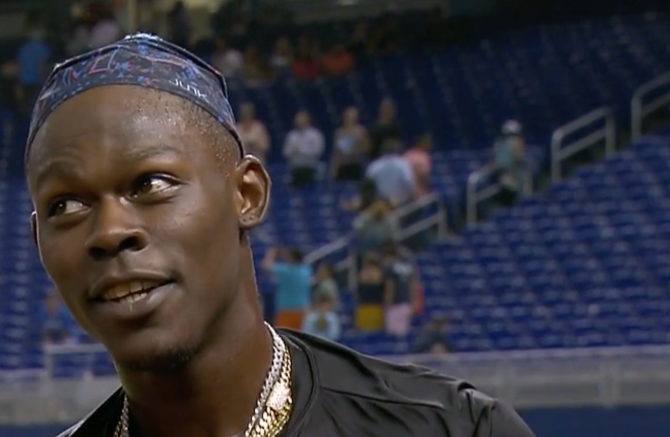 Jazz Chisholm Jr. listens to a question during a postgame interview following a Marlins win at LoanDepot Park