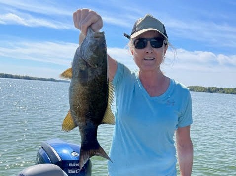 Pattie Stone has had and up-and-down year for fishing in northern Wisconsin, but this smallmouth bass was special. Provided photo