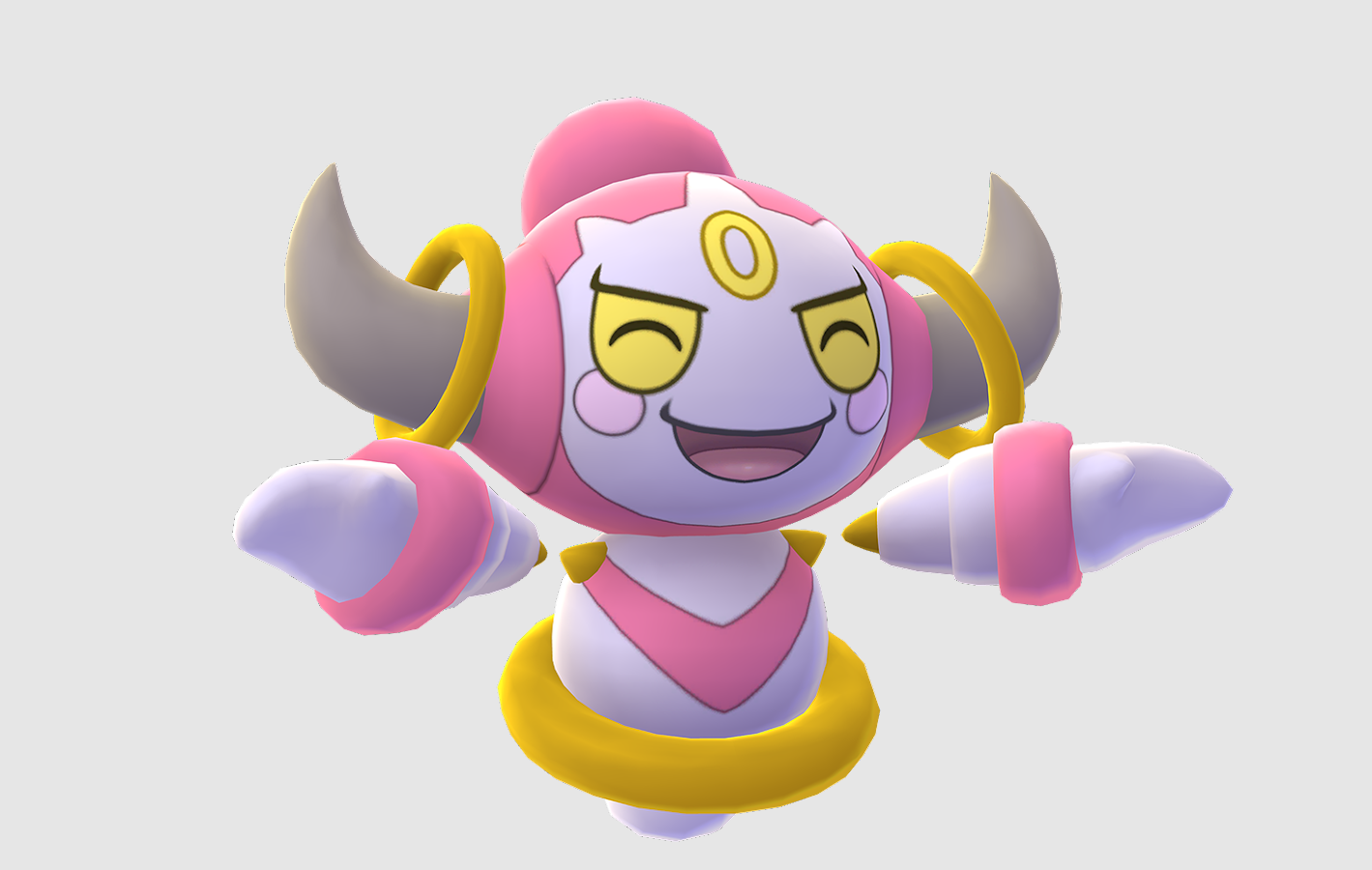 Hoopa celebrates with a happy face