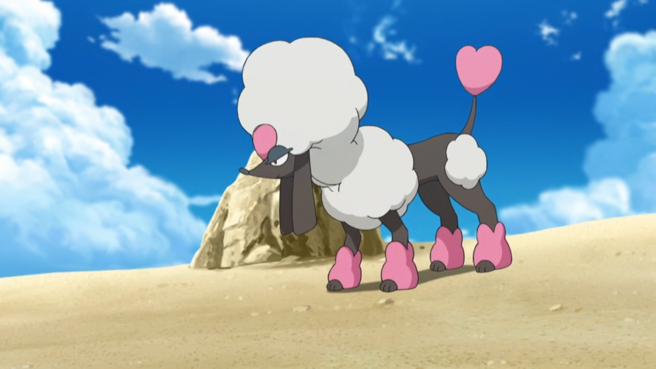 A Heart Trim Furfrou stands on a dusty field