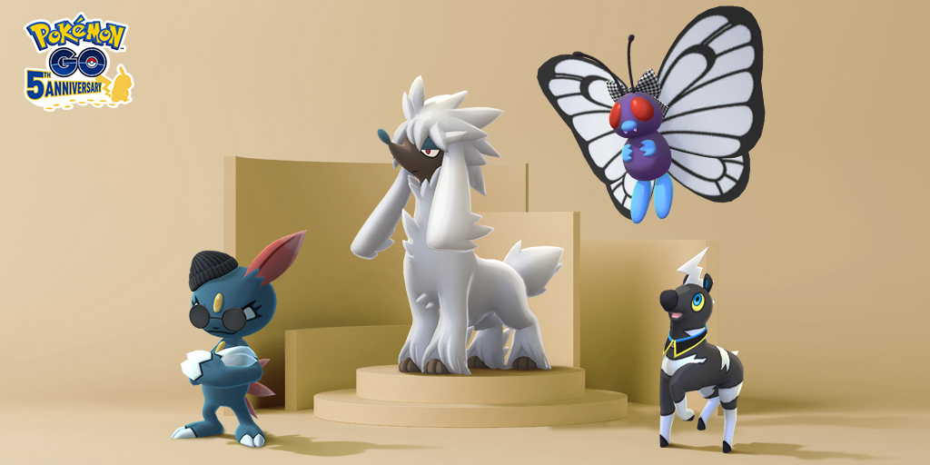 Furfrou, and costumed Sneasel, Butterfree, and Blitzle stand together