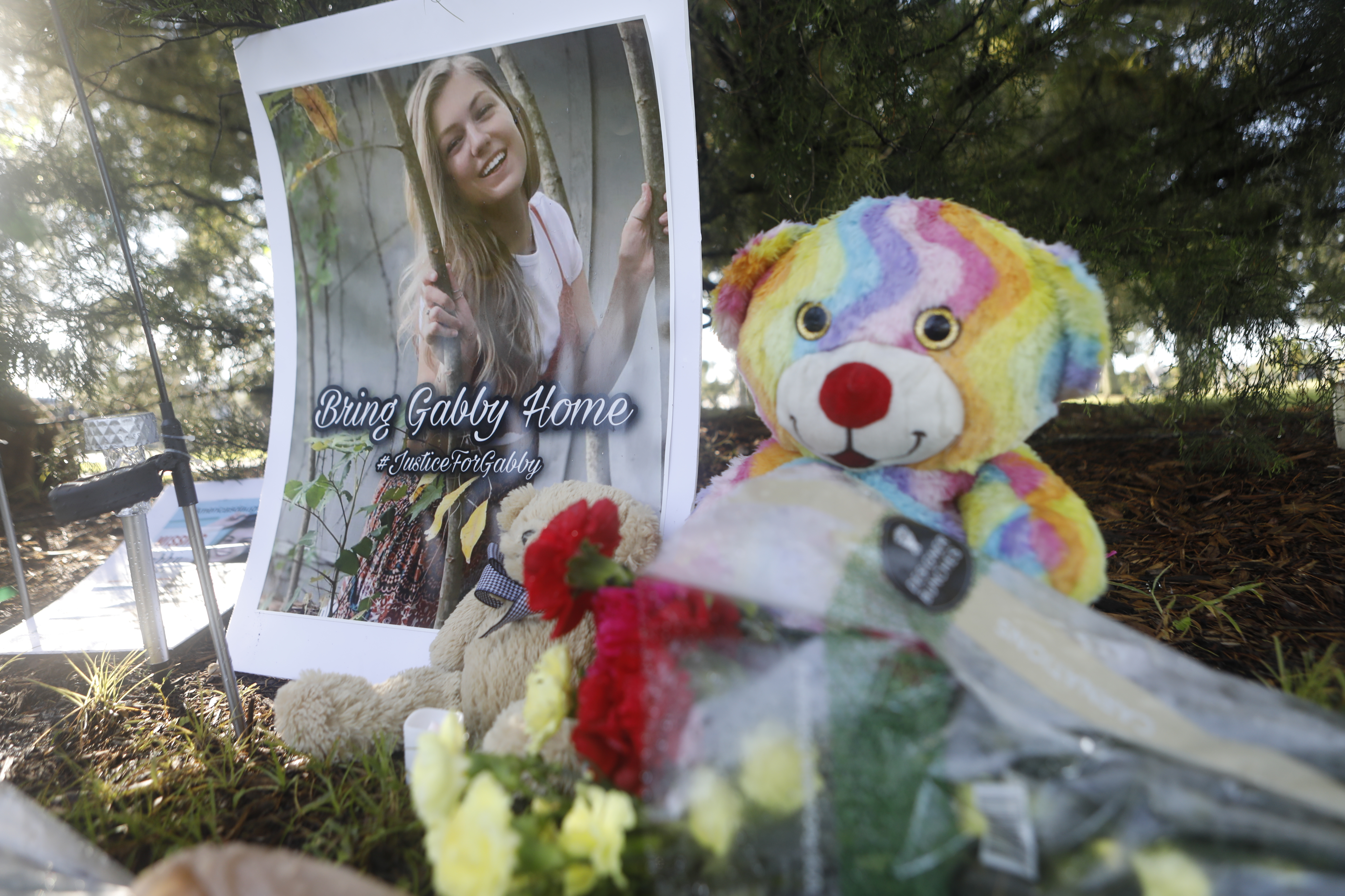 A makeshift memorial dedicated to missing woman Gabby Petito is located near City Hall on September 20, 2021 in North Port, Florida.