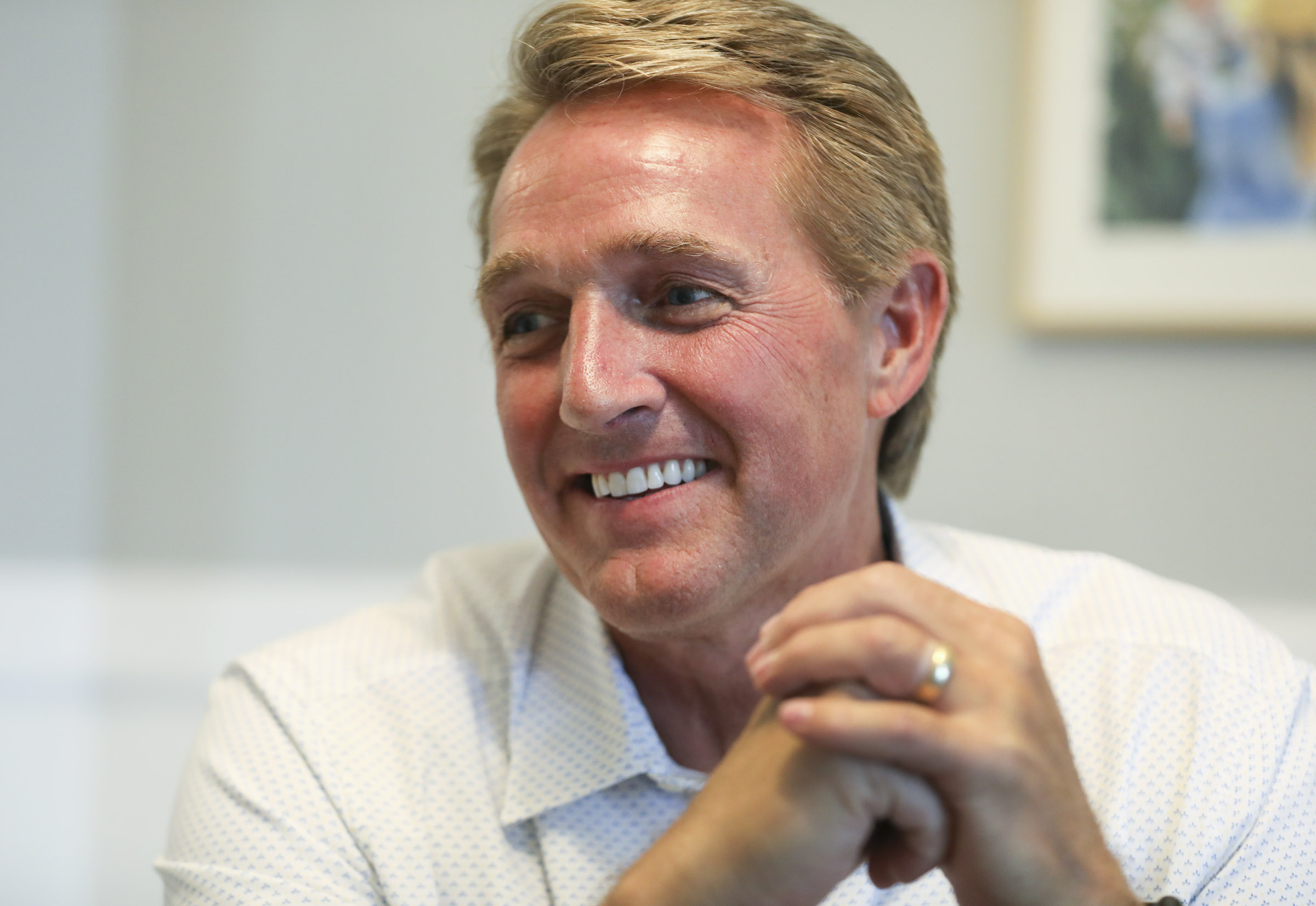 Former Arizona Republican Sen. Jeff Flake talks to the Deseret News during an interview in Provo, Utah, on July 31, 2019.
