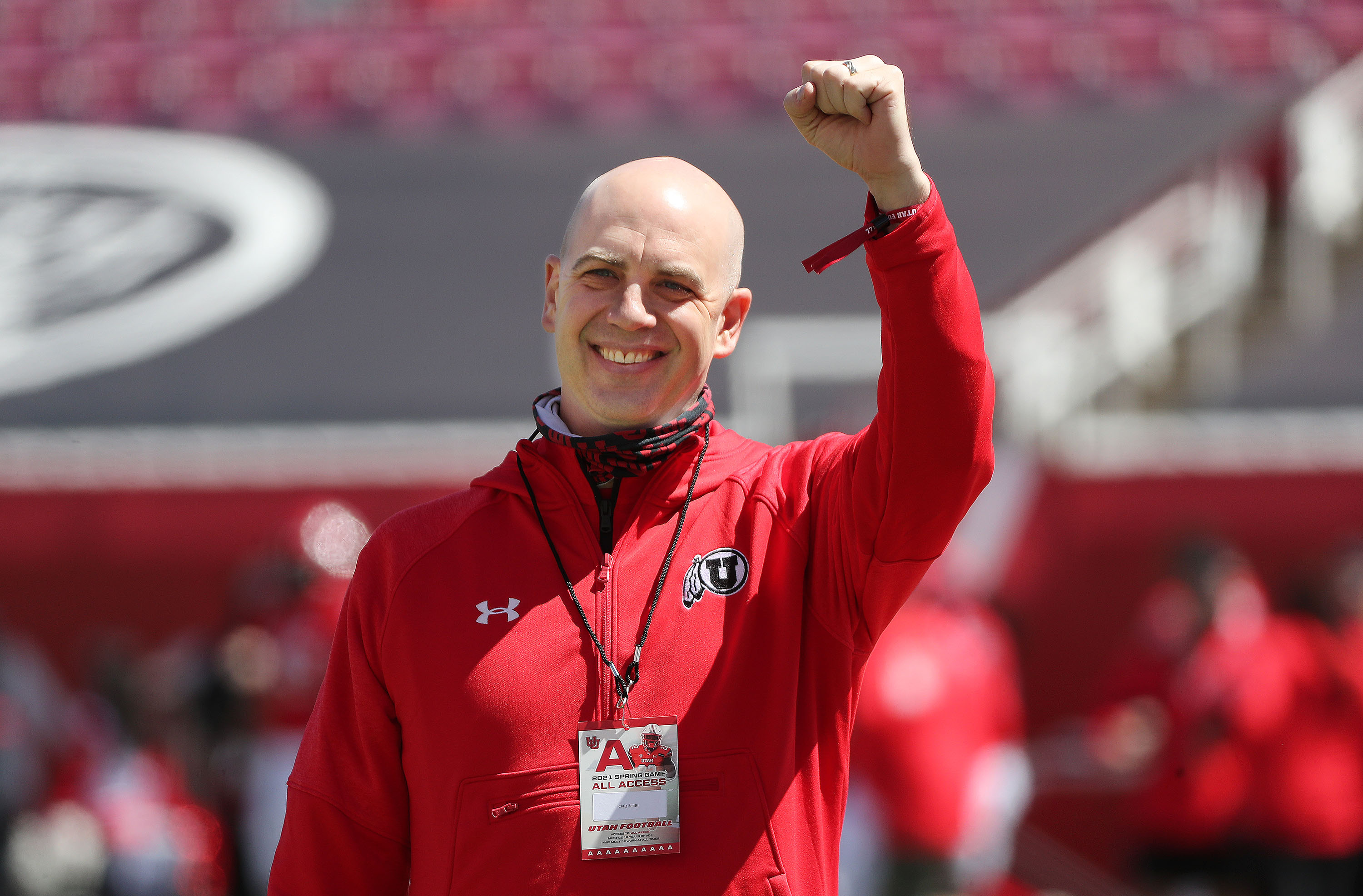 University of Utah basketball coach Craig Smith is introduced during the Red and White game in Salt Lake City on Saturday, April 17, 2021.