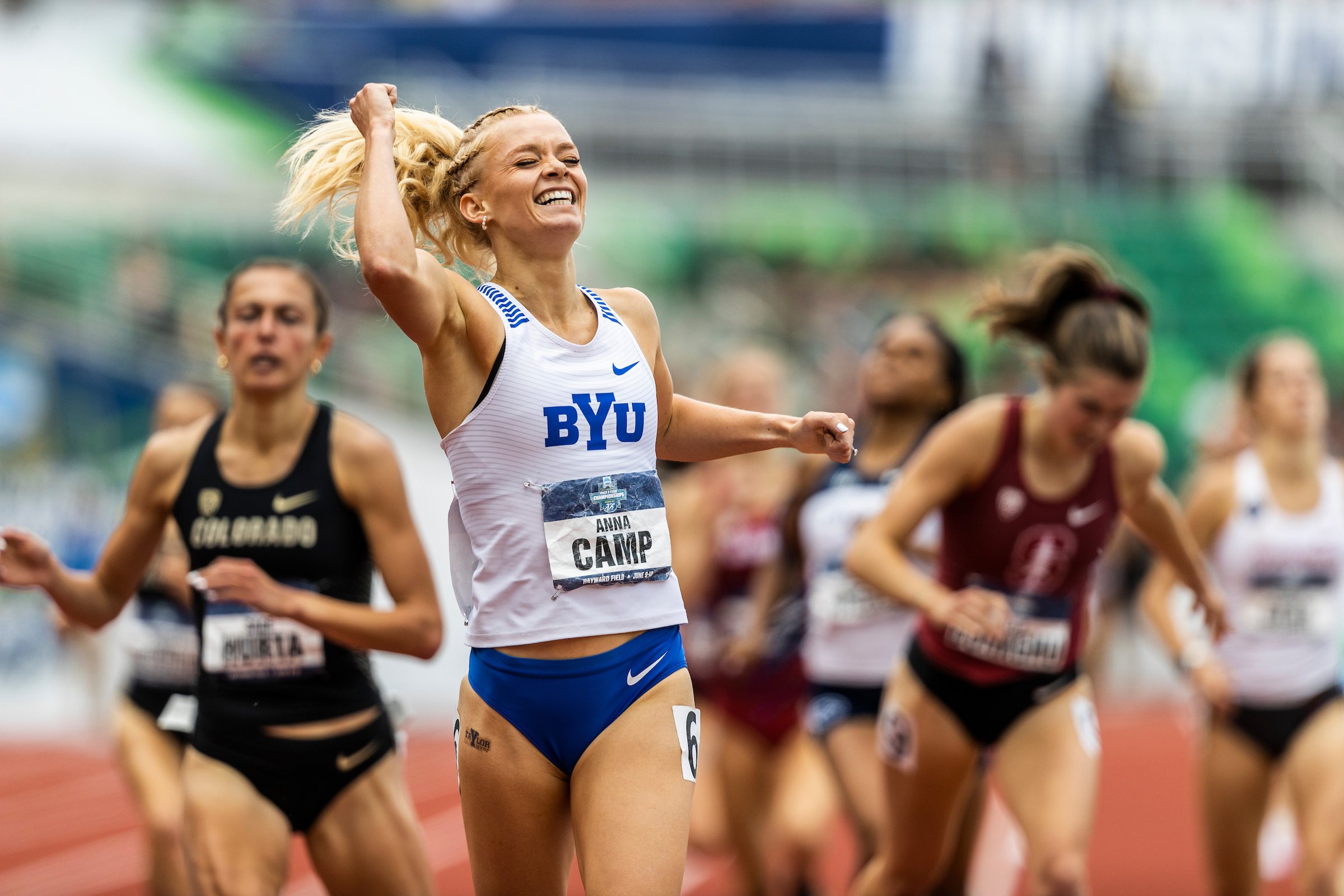 BYU's Anna Camp celebrates after winning the women's 1,500-meter race at the NCAA outdoor track and field championships.