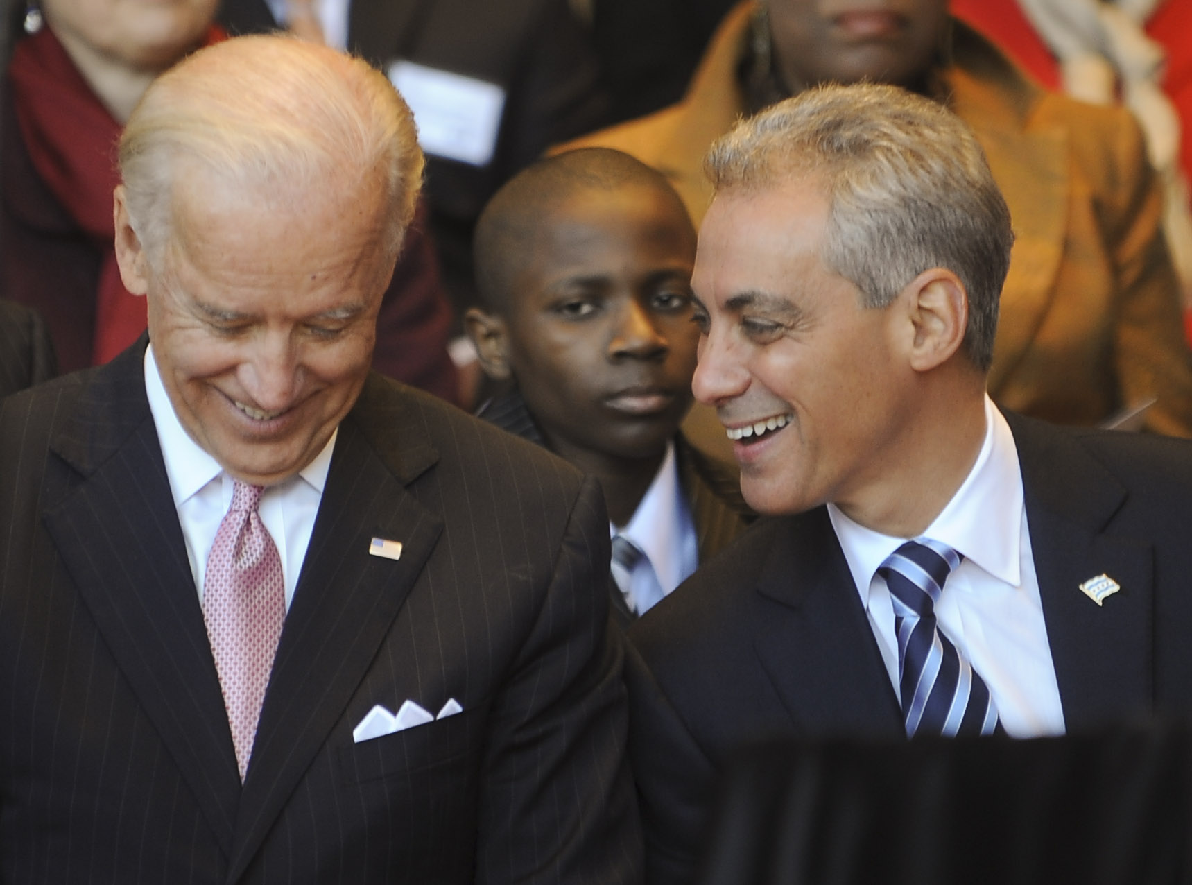 Rahm Emanuel laughs with Vice-President Joe Biden at Monday's Mayoral Inauguration at Millennium Park, May 16, 2011. | Jean Lachat~Sun-Times