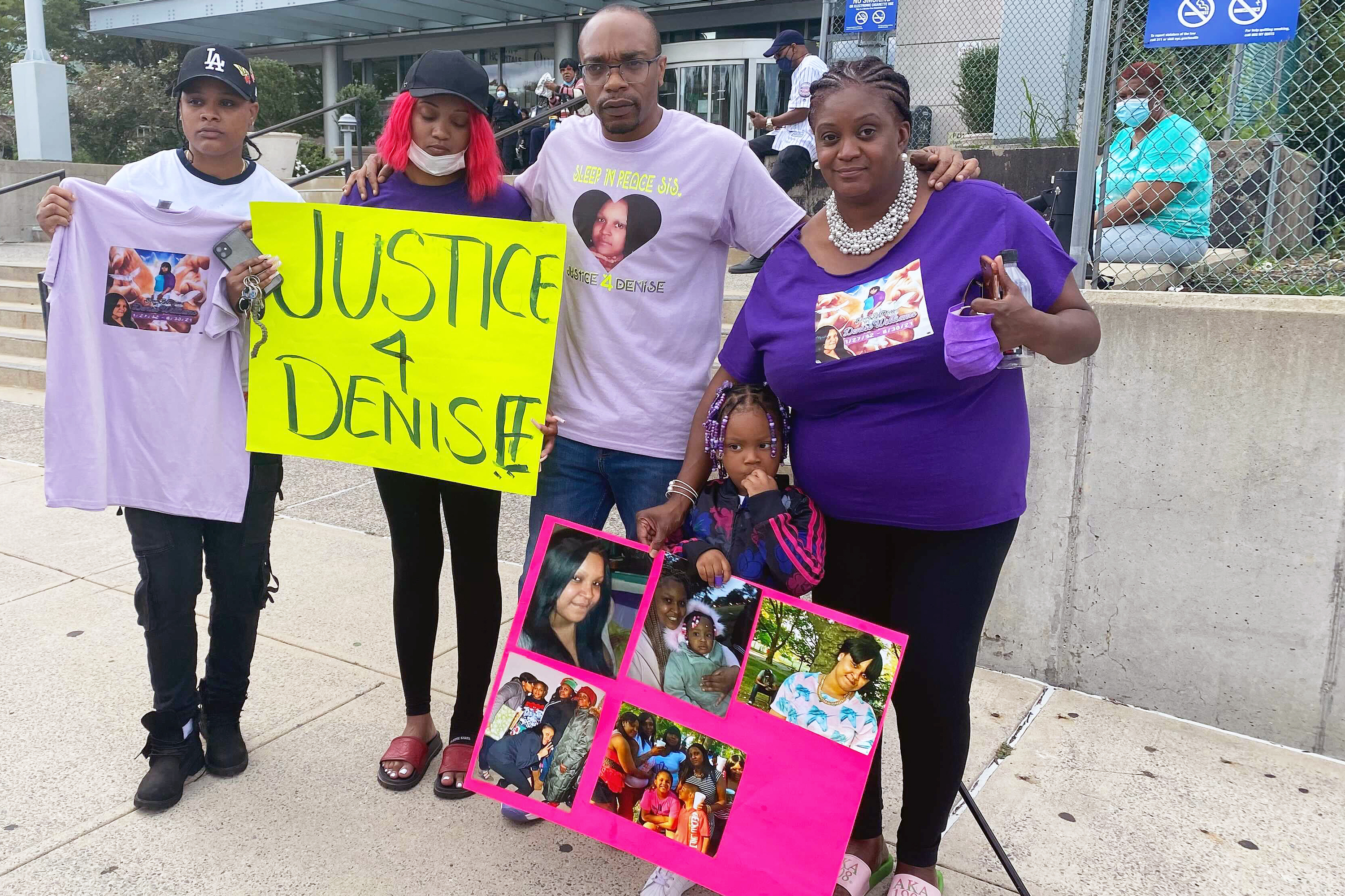 Denise Williams' family, including her 3-year-old daughter Aviana, protested her death at Queens Hospital while suffering from postpartum depression, Sept. 21, 2021.