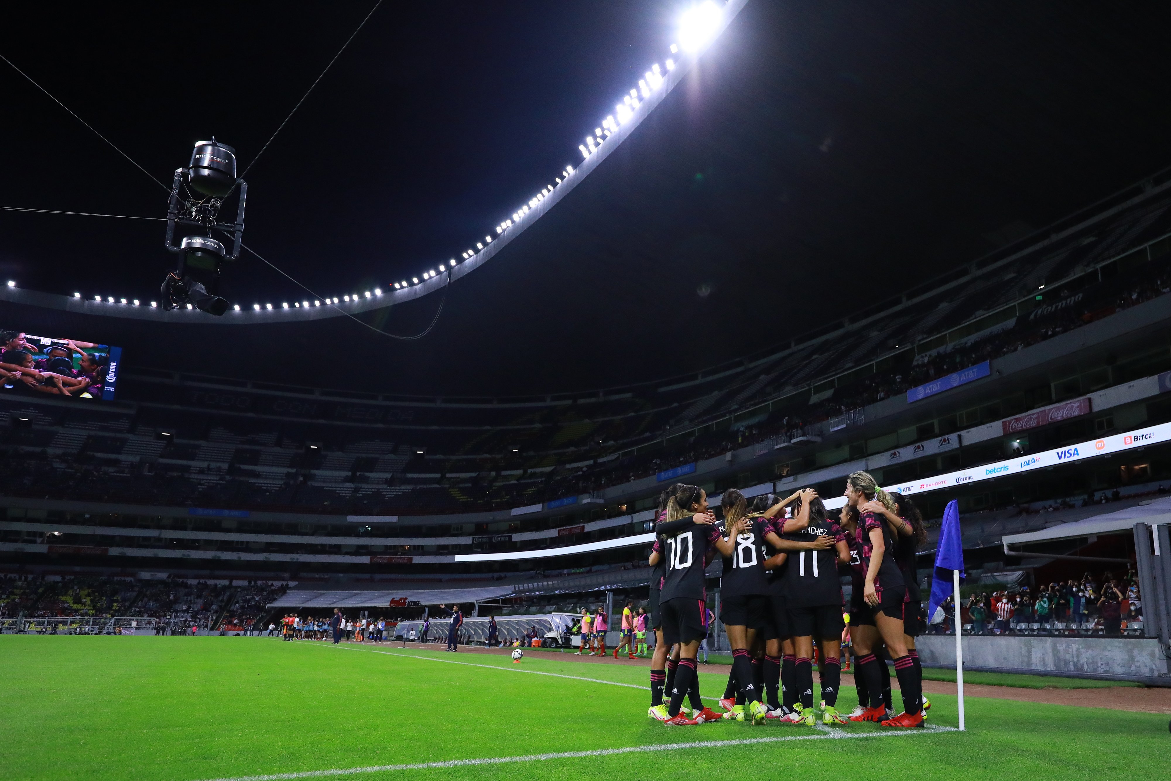 Maria Sanchez of Mexico celebrates with teammates after scoring the second goal of her team during the Women's International Friendly Match between Mexico and Colombia at Azteca Stadium on September 21, 2021 in Mexico City, Mexico.