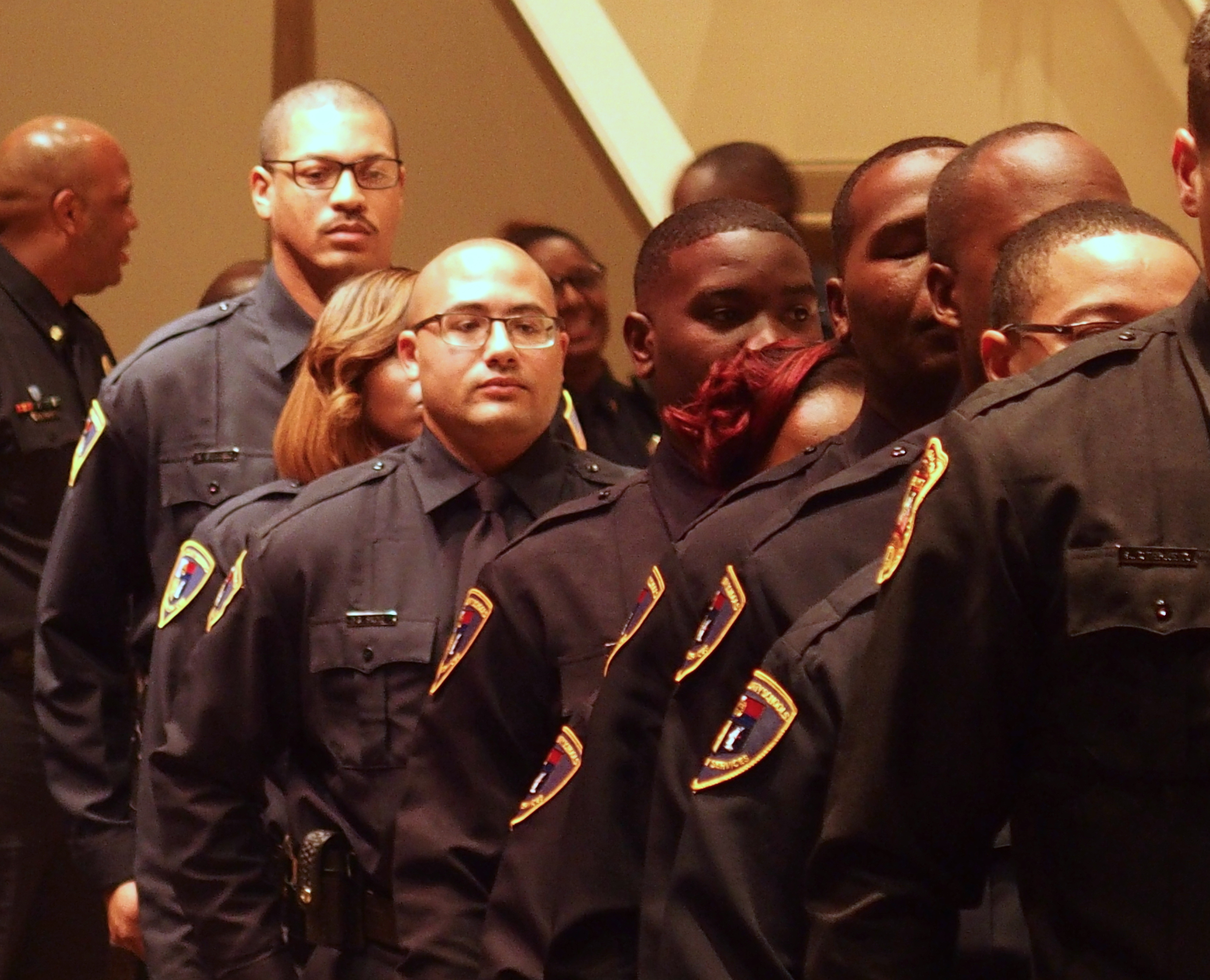 School resource officers complete training for Shelby County Schools in October 2018. Fewer than 20 of school resource officers are sheriff's deputies. The district employs the rest.