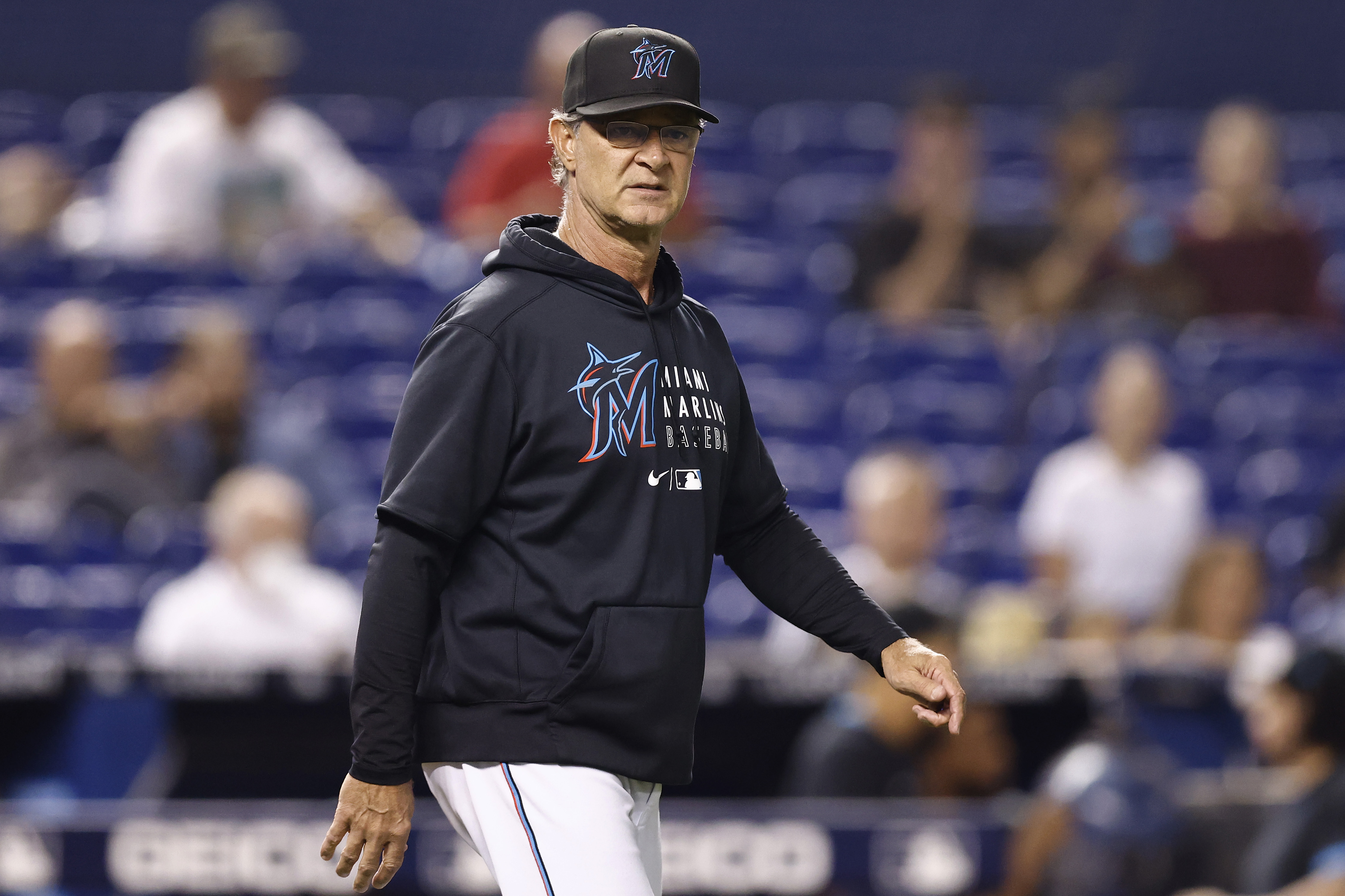 Manager Don Mattingly #8 of the Miami Marlins reacts against the Washington Nationals during the sixth inning at loanDepot park