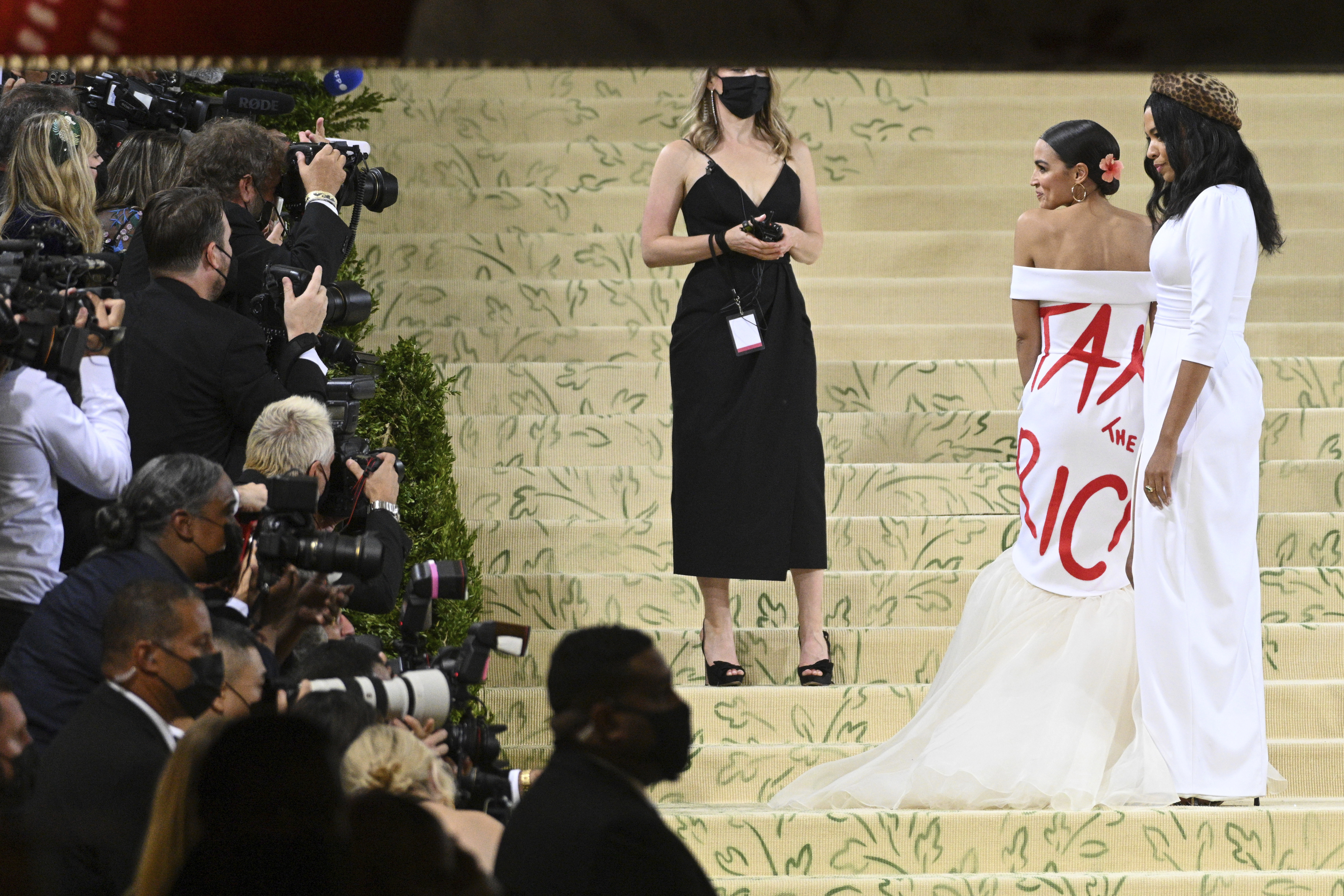 Alexandria Ocasio-Cortez attends the 2021 Met Gala celebrating In America: A Lexicon of Fashion, in New York City on Sept. 13, 2021.