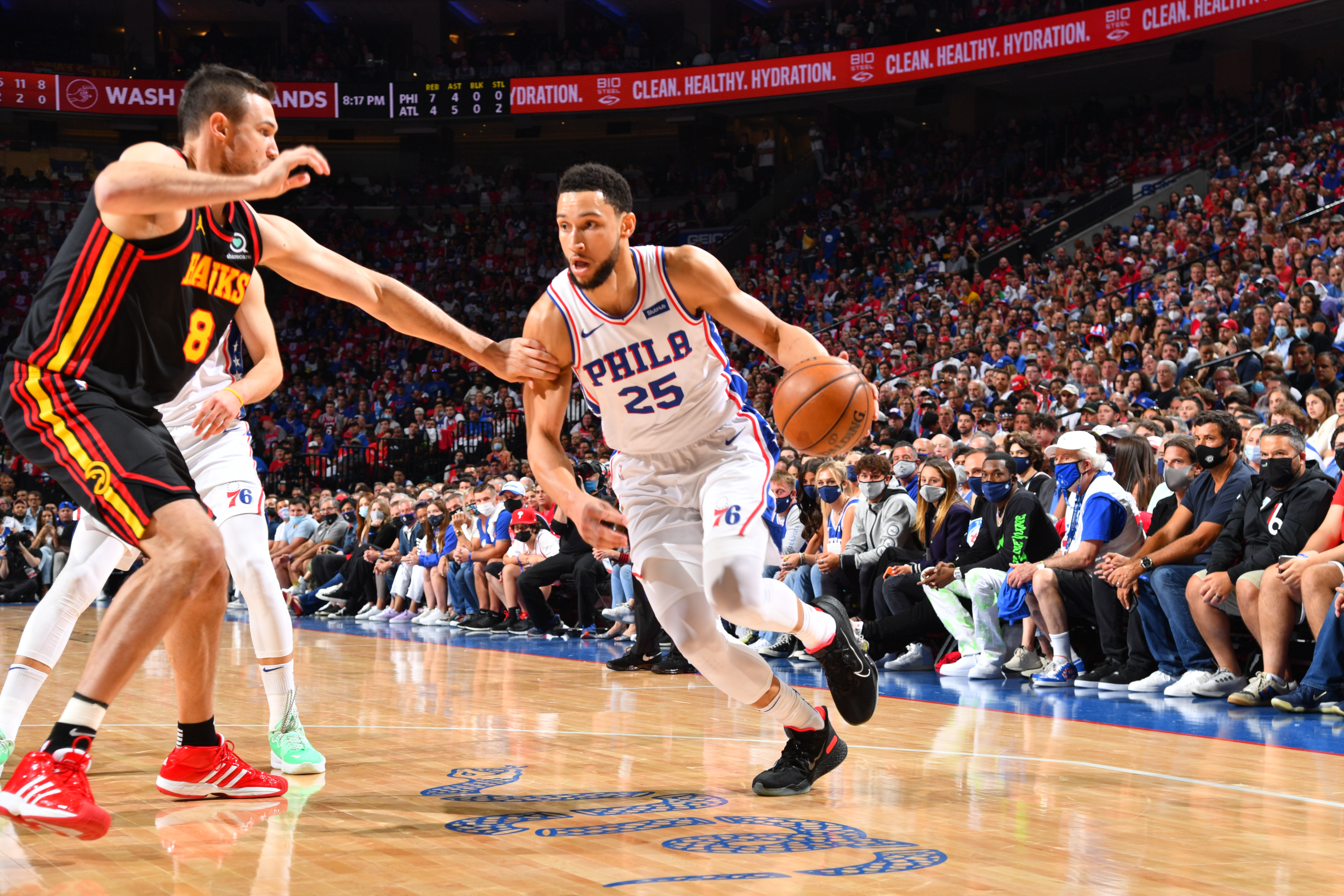Ben Simmons #25 of the Philadelphia 76ers handles the ball against the Atlanta Hawks during Round 2, Game 7 of the Eastern Conference Playoffs on June 20, 2021 at Wells Fargo Center in Philadelphia, Pennsylvania.