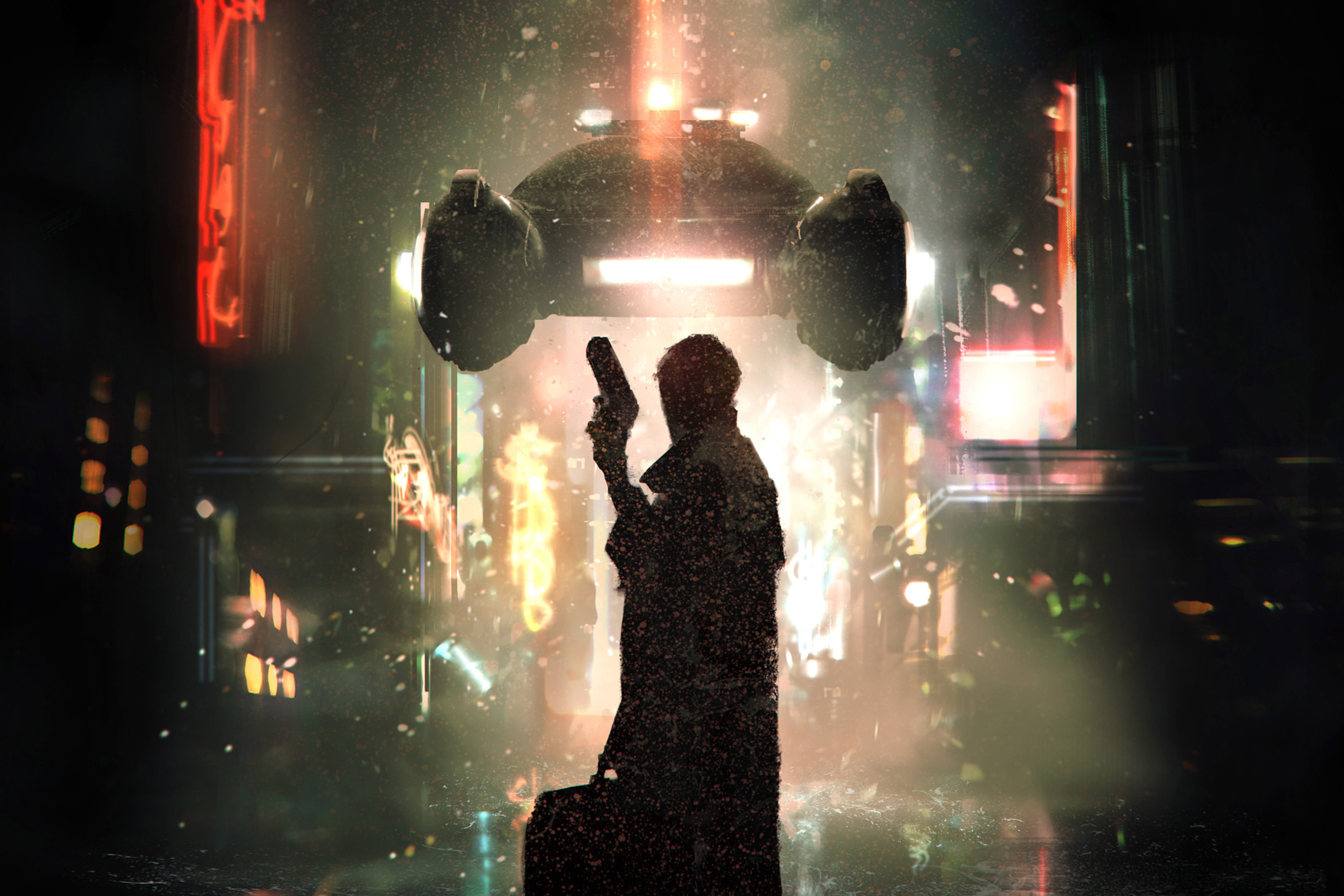 A blade runner holding a gun and a bag stares down a flying car in a rain-soaked, neon-lit scene from near-future LA.