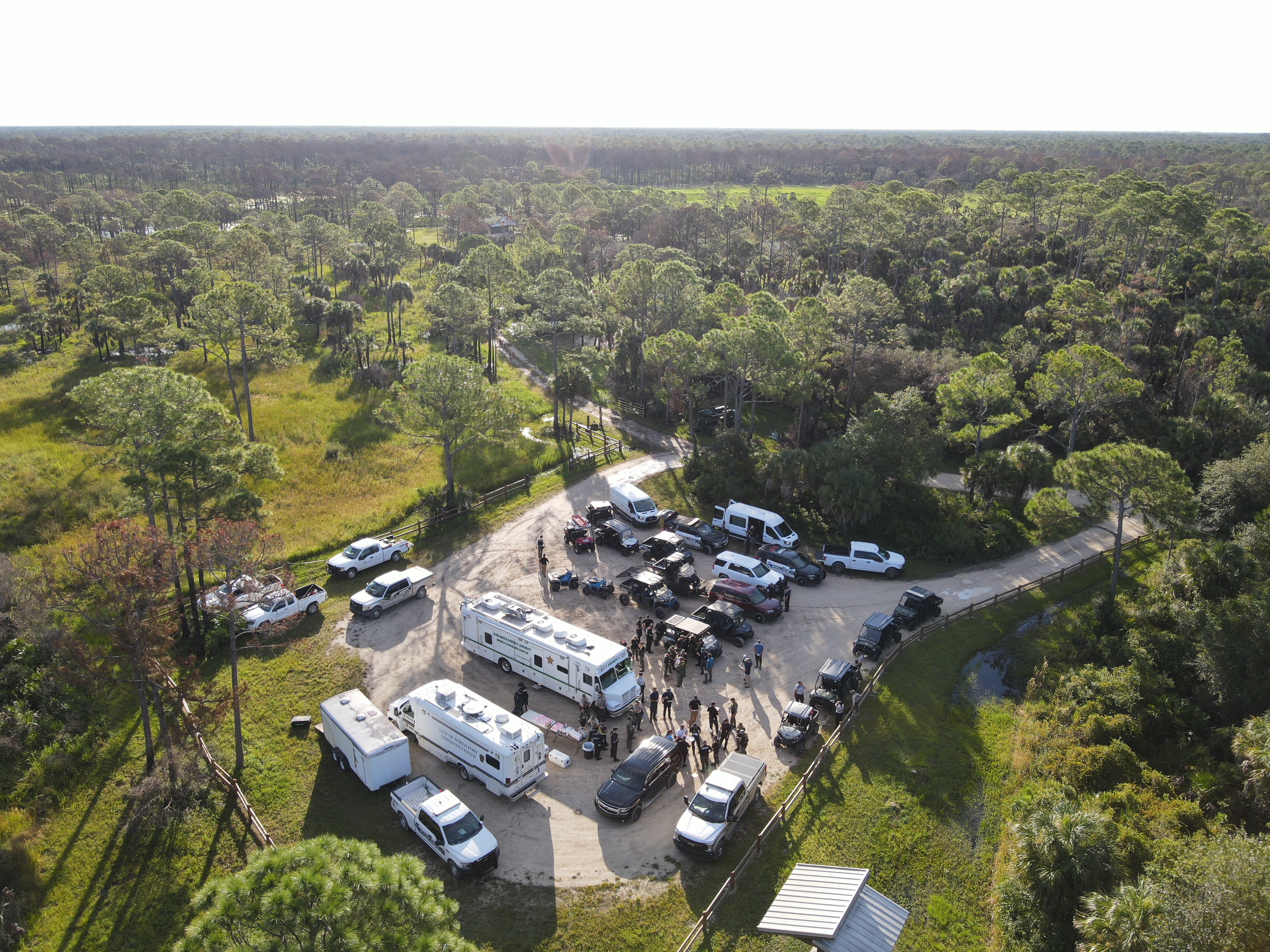 Drone footage of the Carlton Reserve in Florida from the North Port Police Department, which is searching for Brian Laundrie.