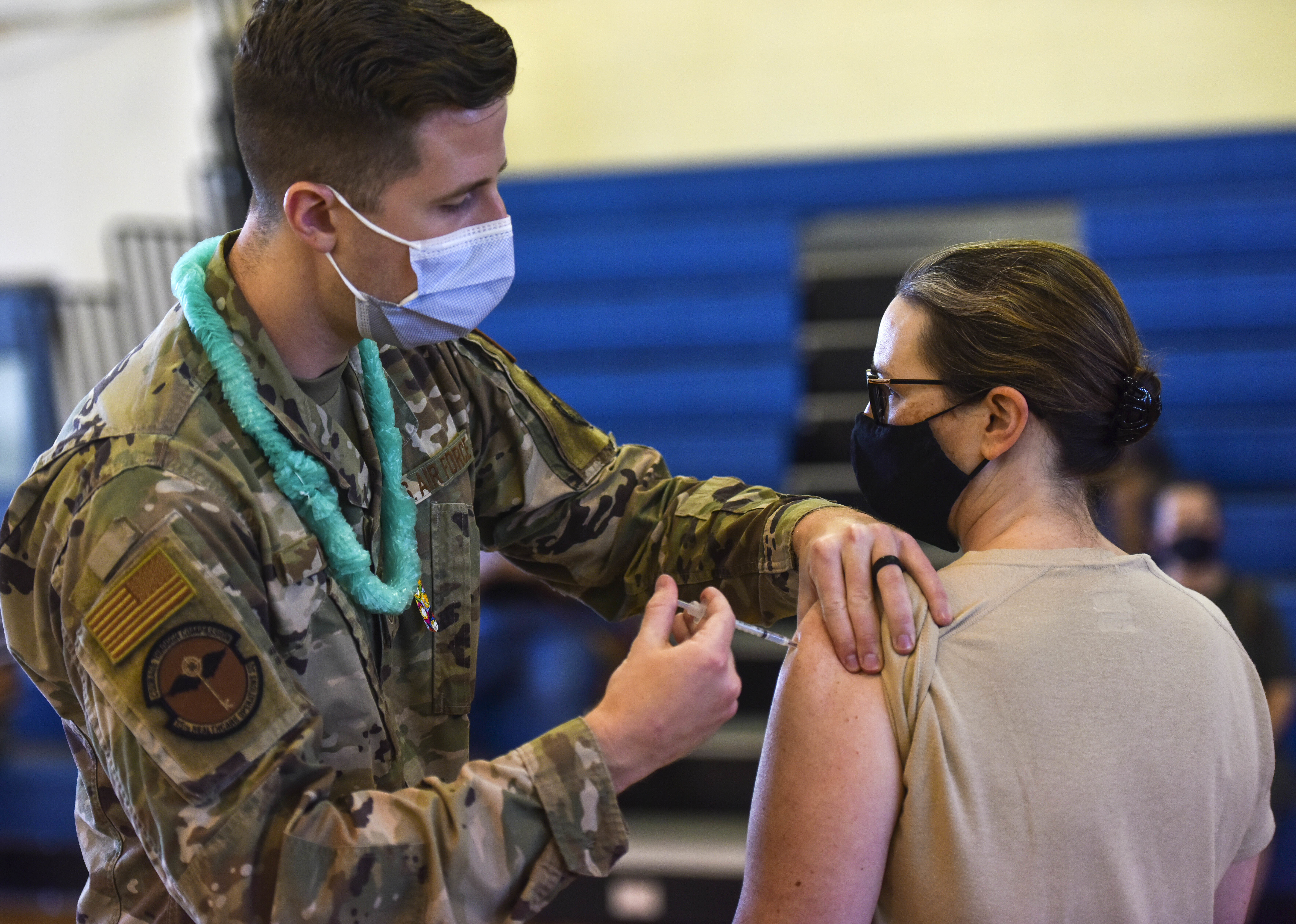 Hickam 15th Medical Group host the first COVID-19 mass vaccination on Joint Base Pearl Harbor-Hickam on Feb. 9, 2021.