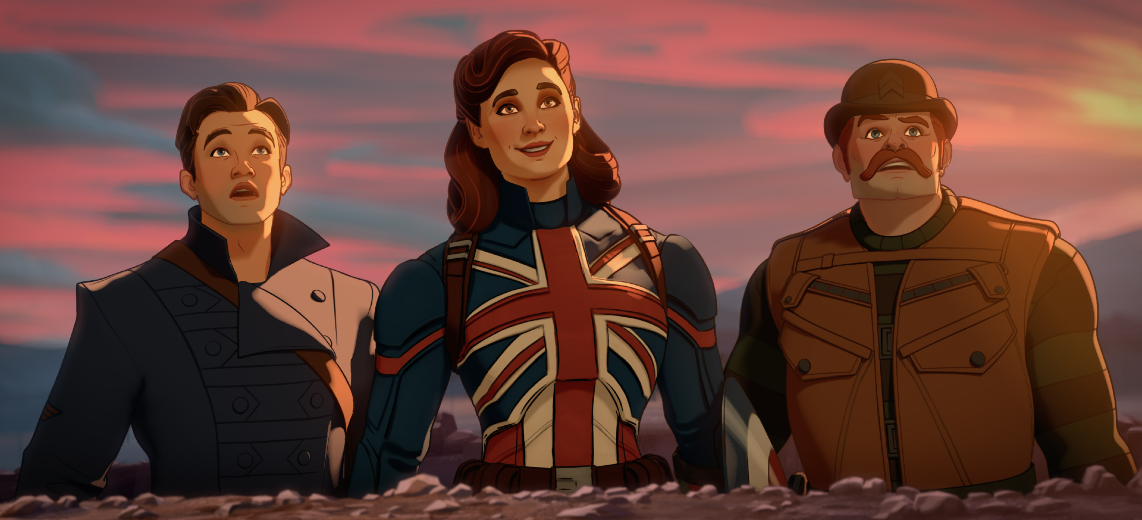 Bucky, Peggy Carter, and Dum Dum Dugan in Marvel's What If...? episode 1.