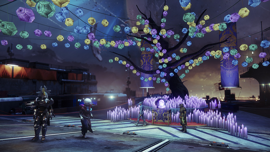 Destiny 2 - tree in the Tower during Festival of the Lost 2018