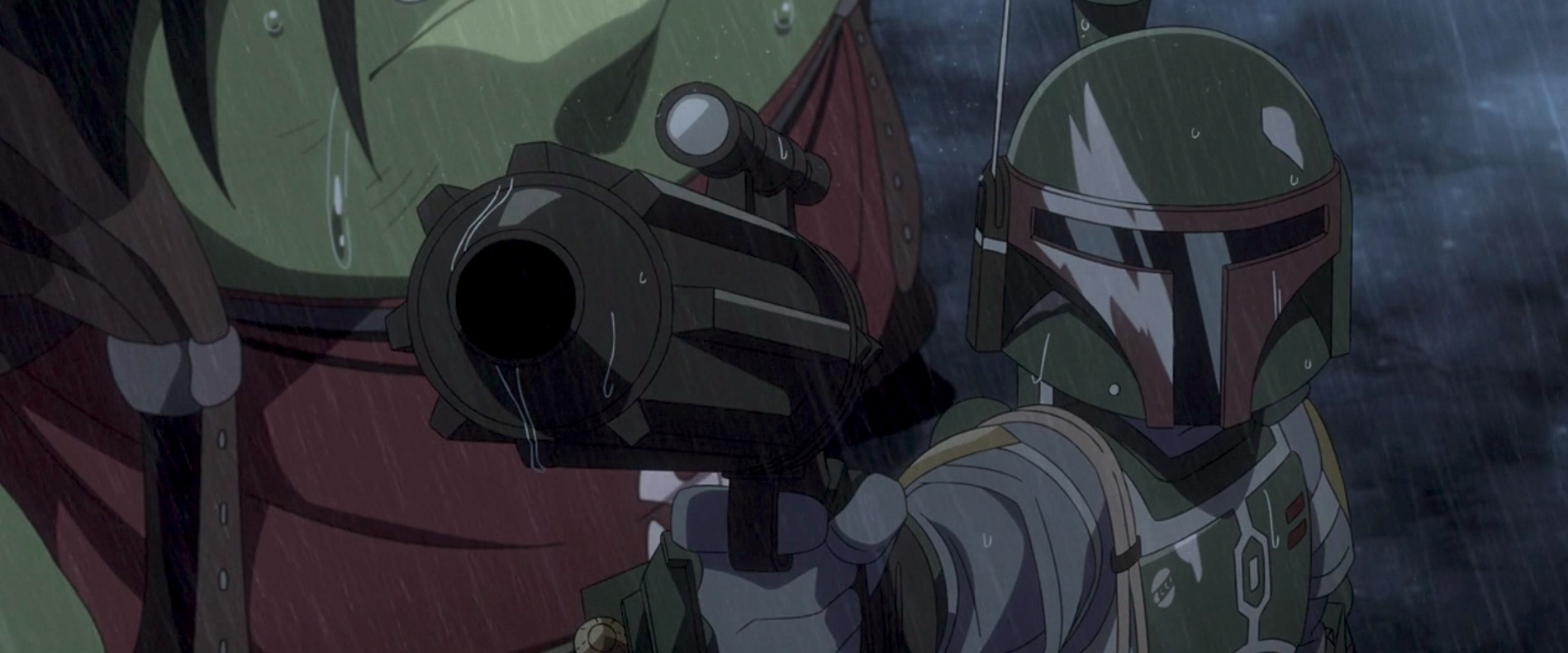 Boba Fett holds up his gun in Star Wars: Visions