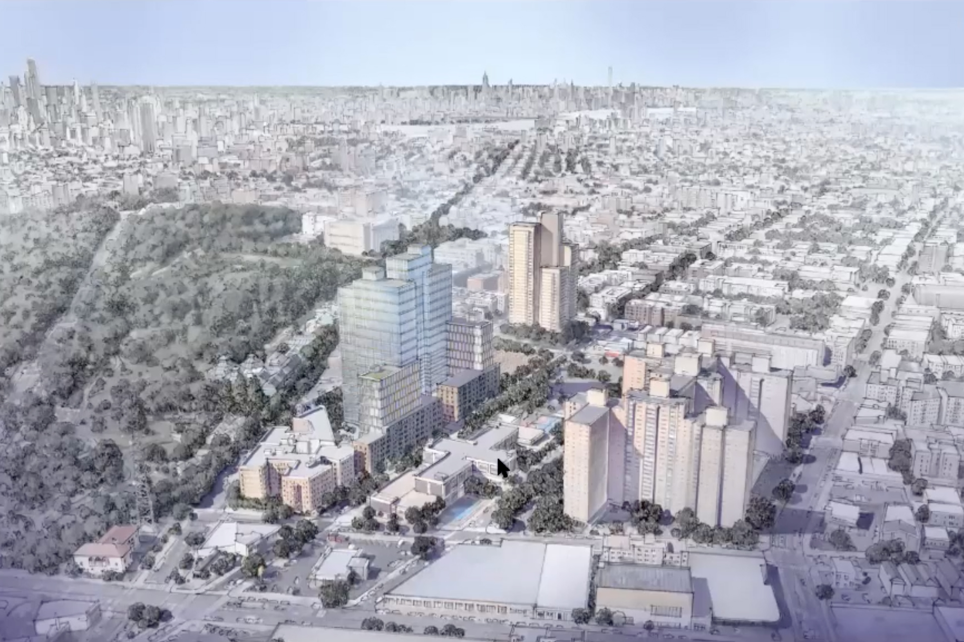 A rendering from a presentation to Community Board 9 on a proposed new development in Crown Heights.