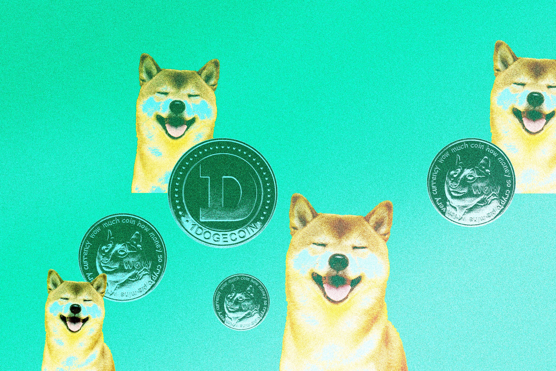 Pictures of Shiba token's mascot, a shiba inu dog, which mimics Dogecoin's logo.