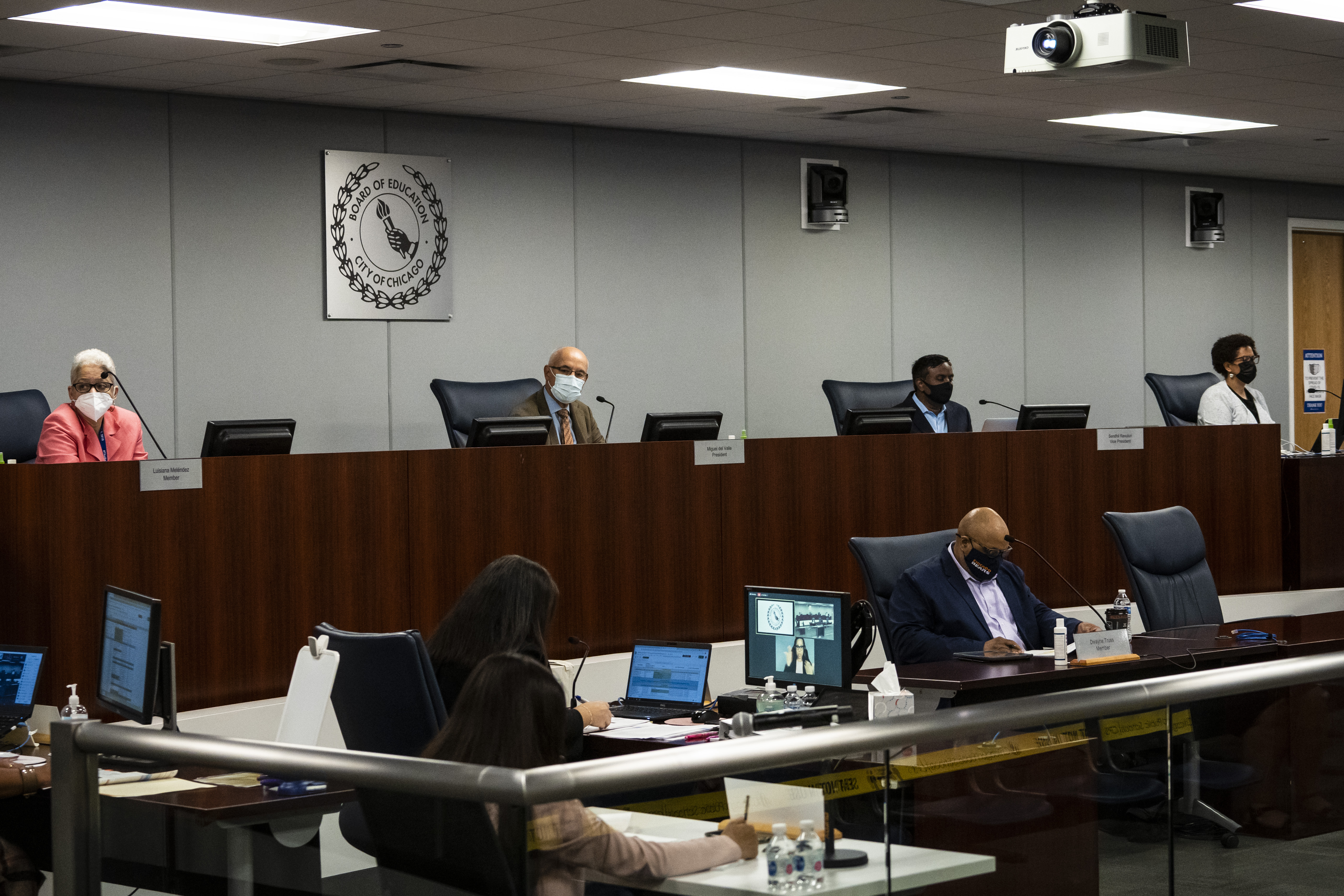 The Chicago Board of Education meets for its monthly meeting at Chicago Public Schools headquarters in the Loop, Wednesday morning, Sept. 22, 2021.