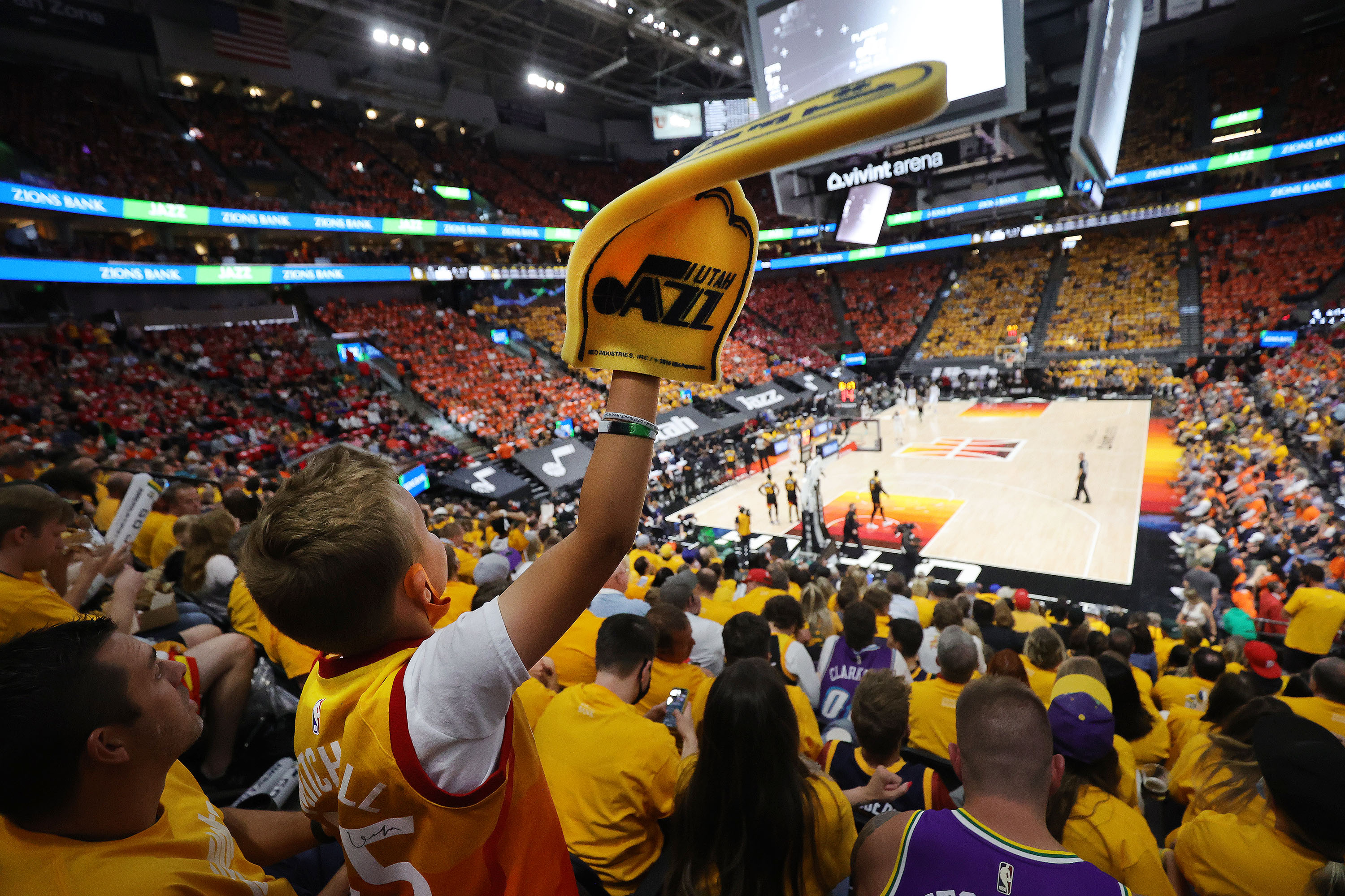 A Utah Jazz fan cheers during the NBA playoffs in Salt Lake City on Thursday, June 10, 2021. The Jazz won 117-111.