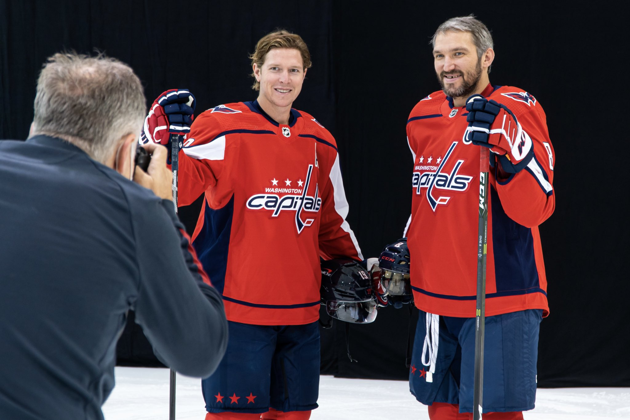 Washington Capitals teammates Alex Ovechkin and Nicklas Backstrom posing for a photo together at the team's 2021 Media Day.