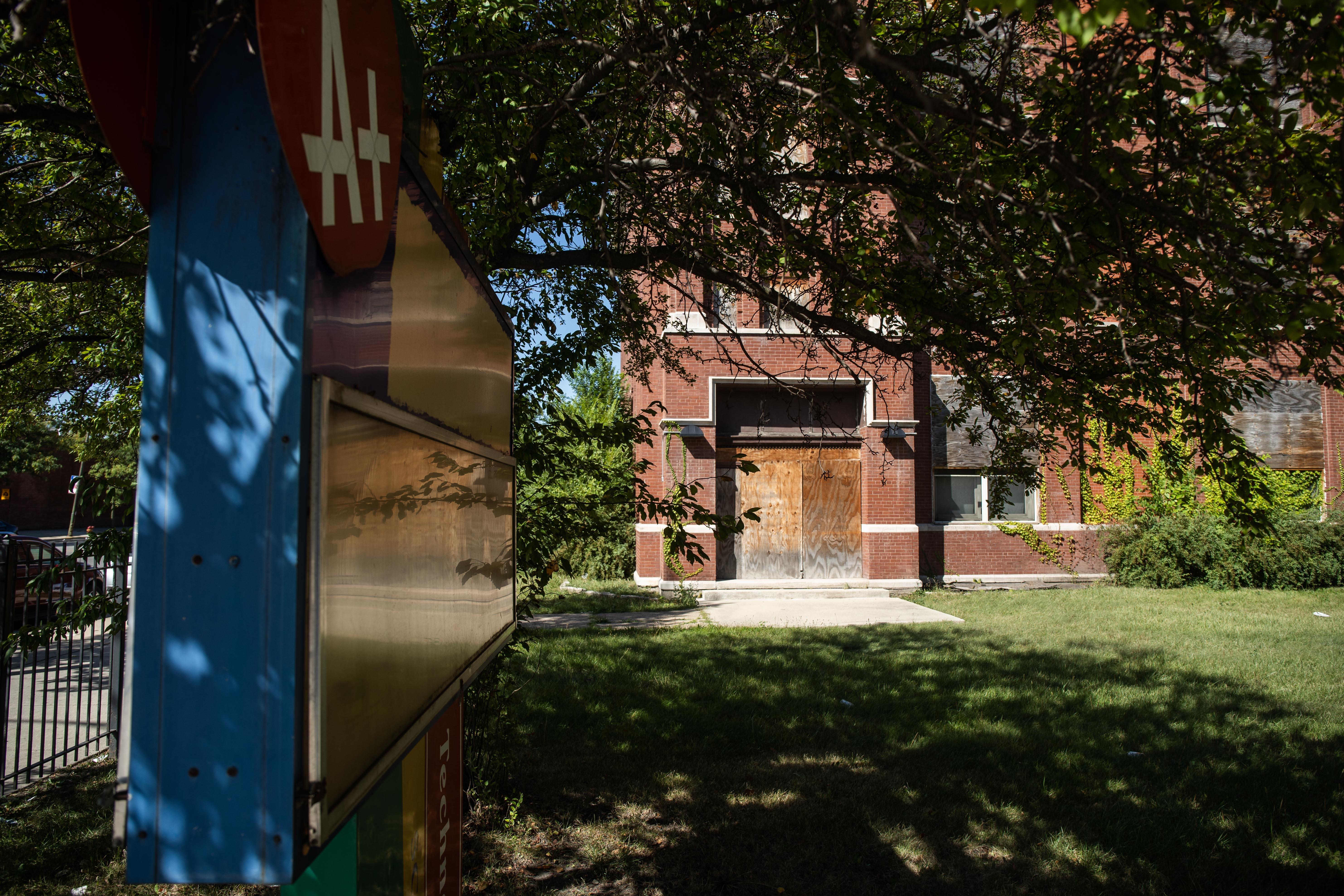 The former Robert Emmet Elementary School, 5500 W. Madison St., in the Austin neighborhood.