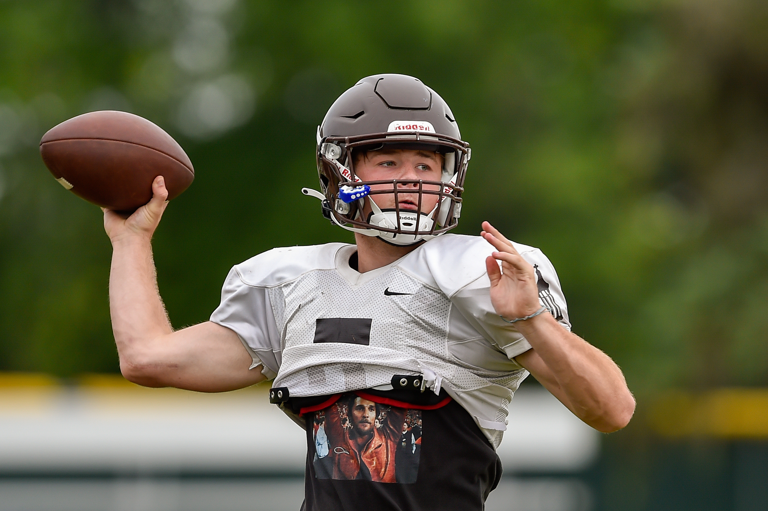 Joliet Catholic's Aidan Voss throws the ball during practice.