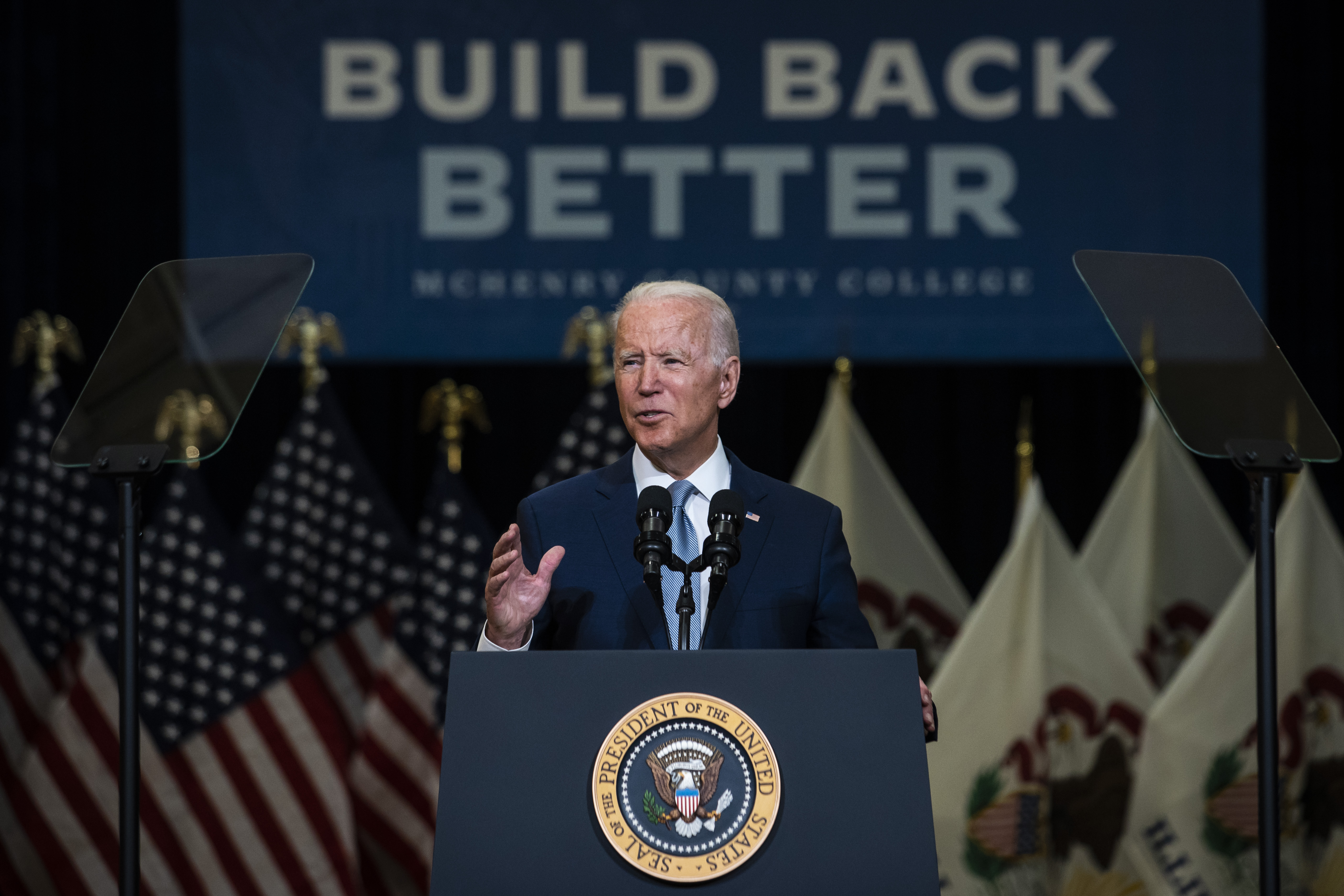 President Joe Biden speaks at McHenry County College in Crystal Lake on Wednesday, July 7, 2021.