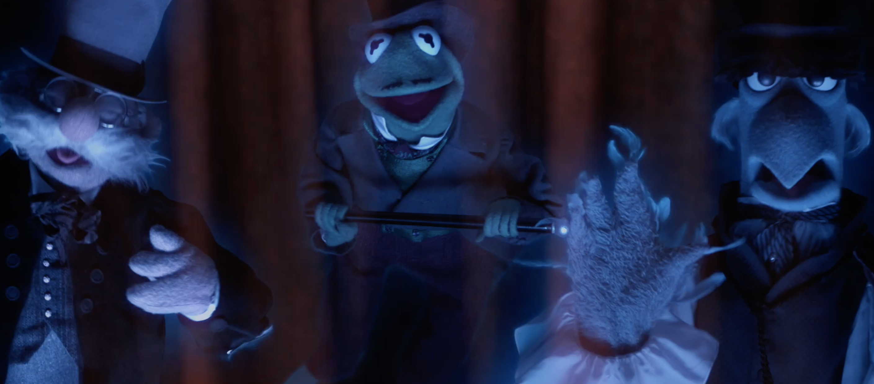 three muppets appear as ghosts, including Kermit and Sam the Eagle
