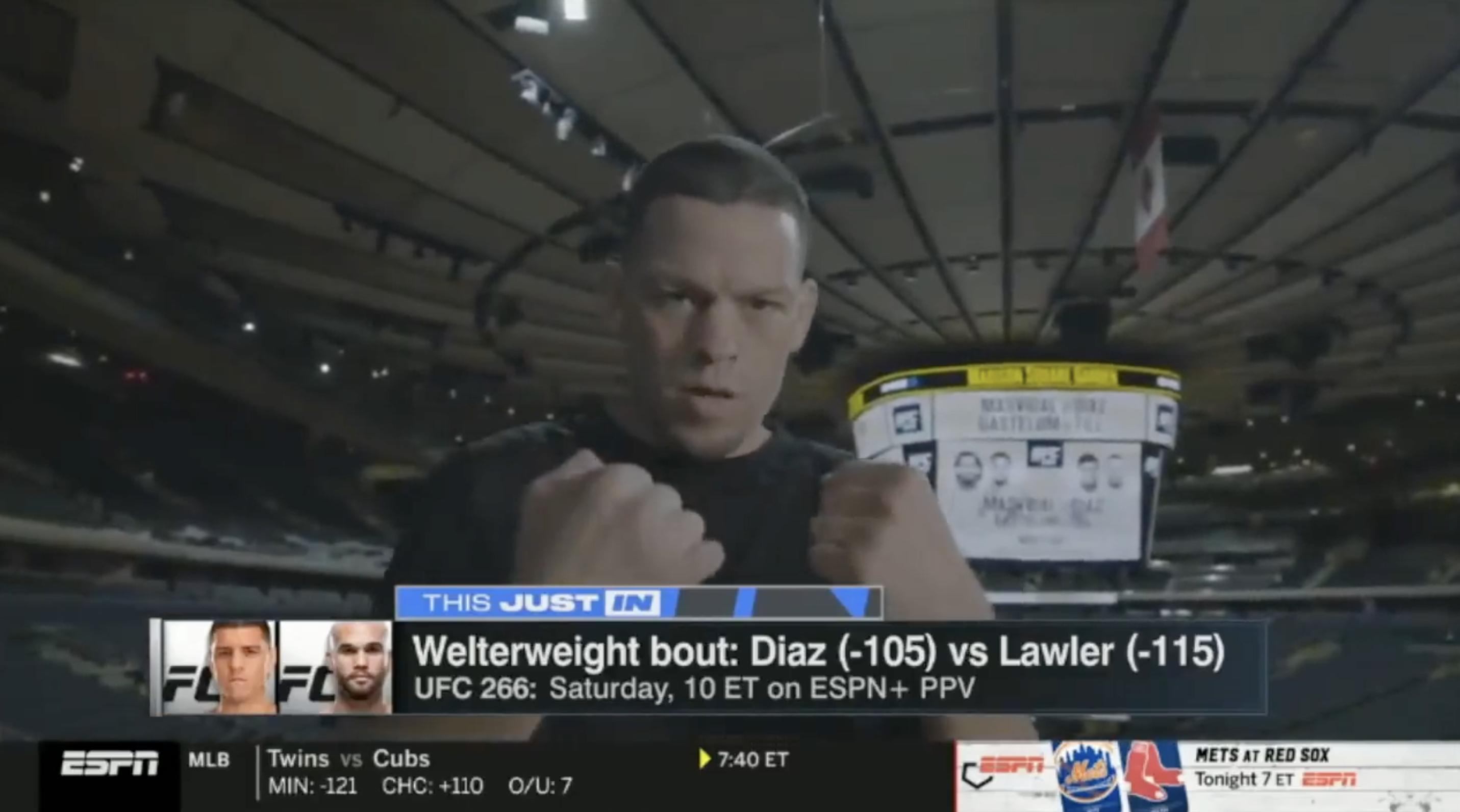 ESPN uses a photo of Nate Diaz to promote Nick Diaz vs Robbie Lawler