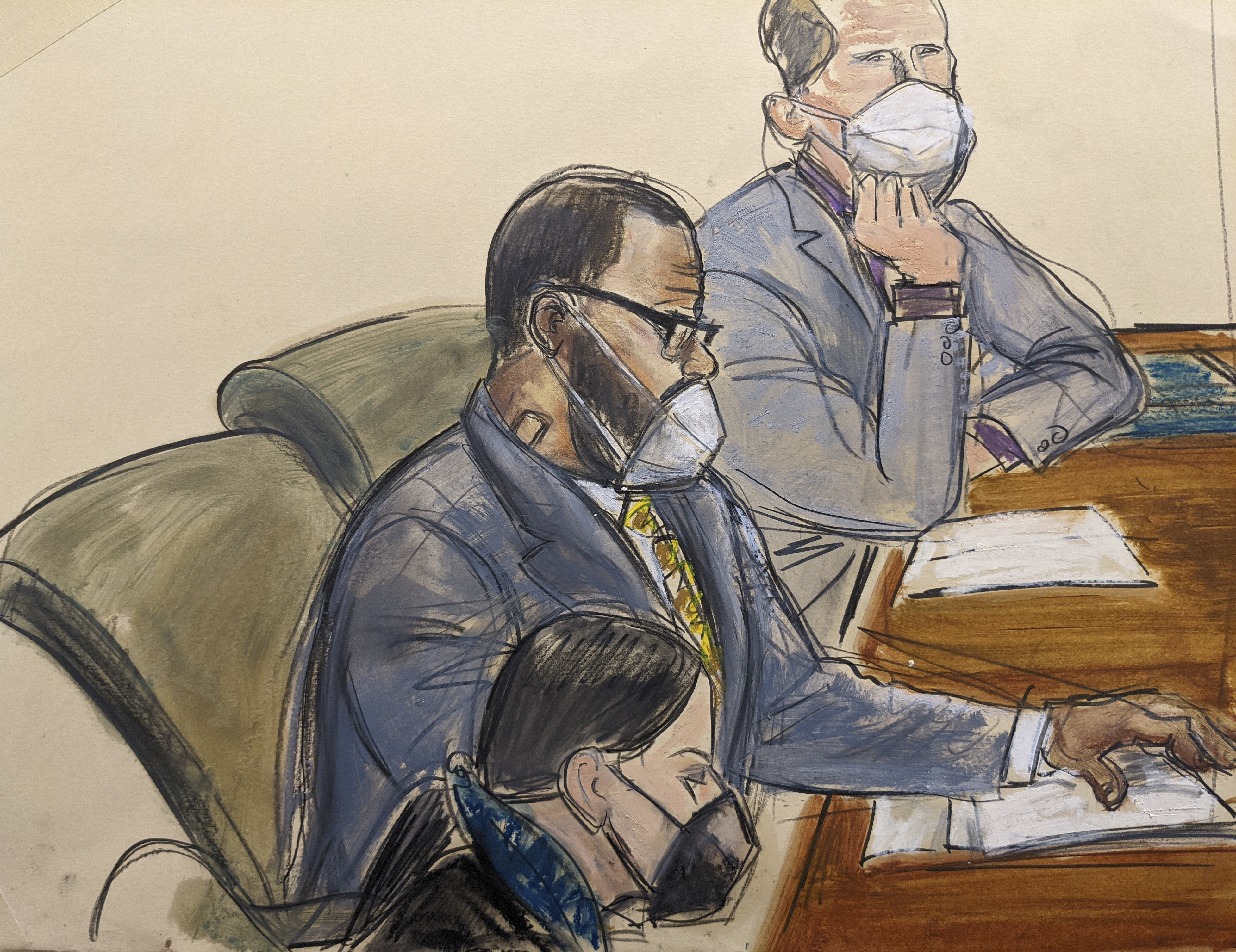 In thisIn this courtroom sketch, R. Kelly, center, sits with his defense attorneys Thomas Farinella, top, and Nicole Blank Becker during the first day of his defense in his sex trafficking case, Monday, Sept. 20, 2021, in New York. courtroom sketch, R. Kelly, center, sits with his defense attorneys Thomas Farinella, top, and Nicole Blank Becker during the first day of his defense in his sex trafficking case, Monday, Sept. 20, 2021, in New York.