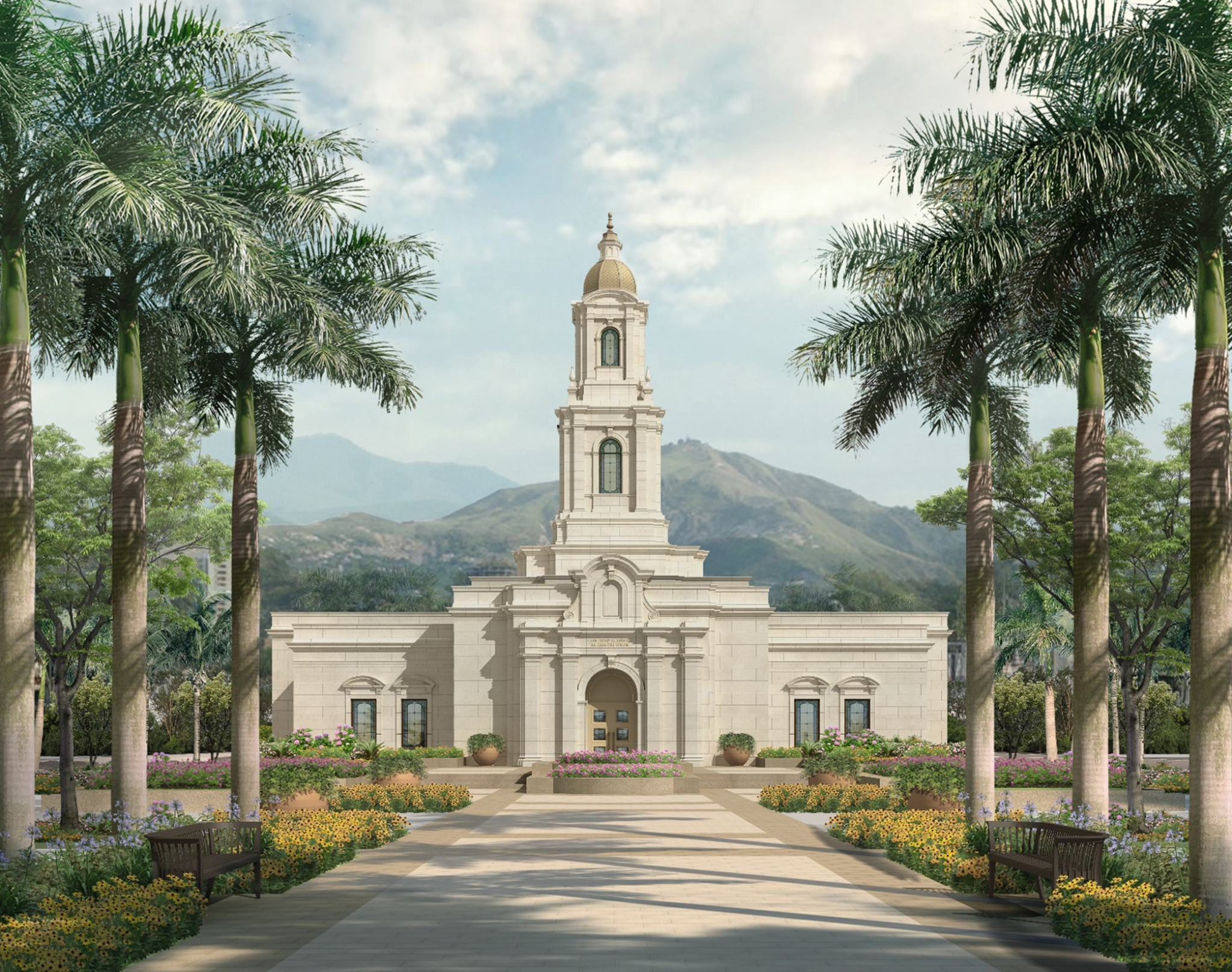An exterior rendering of the Cali Colombia Temple, one of four temples coming soon to Latin America.