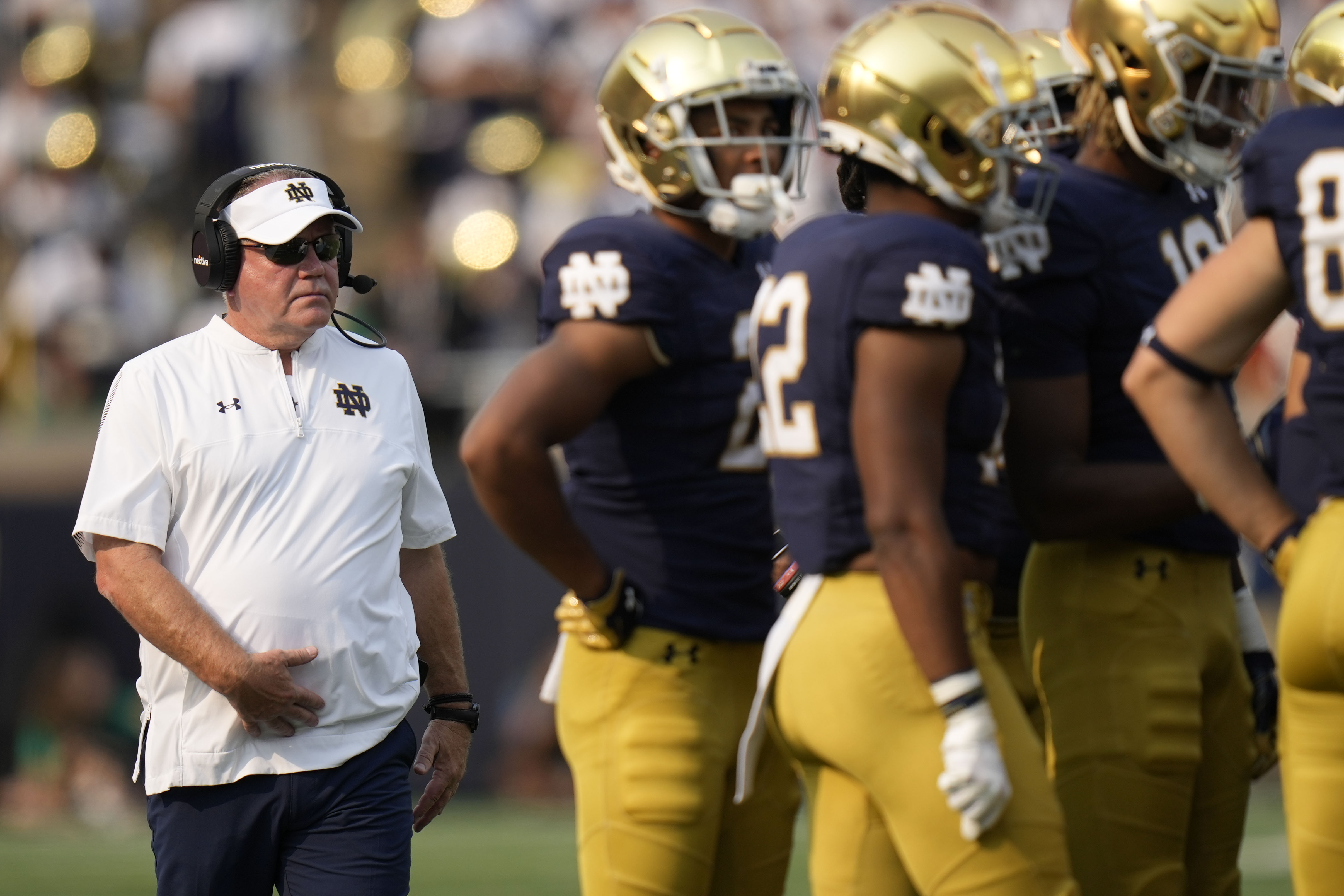 """""""We are transitioning on the offensive line, but we are so excited about the young players and the veterans that are playing their butts off as as we go through this transition on the offensive line,"""" Notre Dame coach Brian Kelly said."""