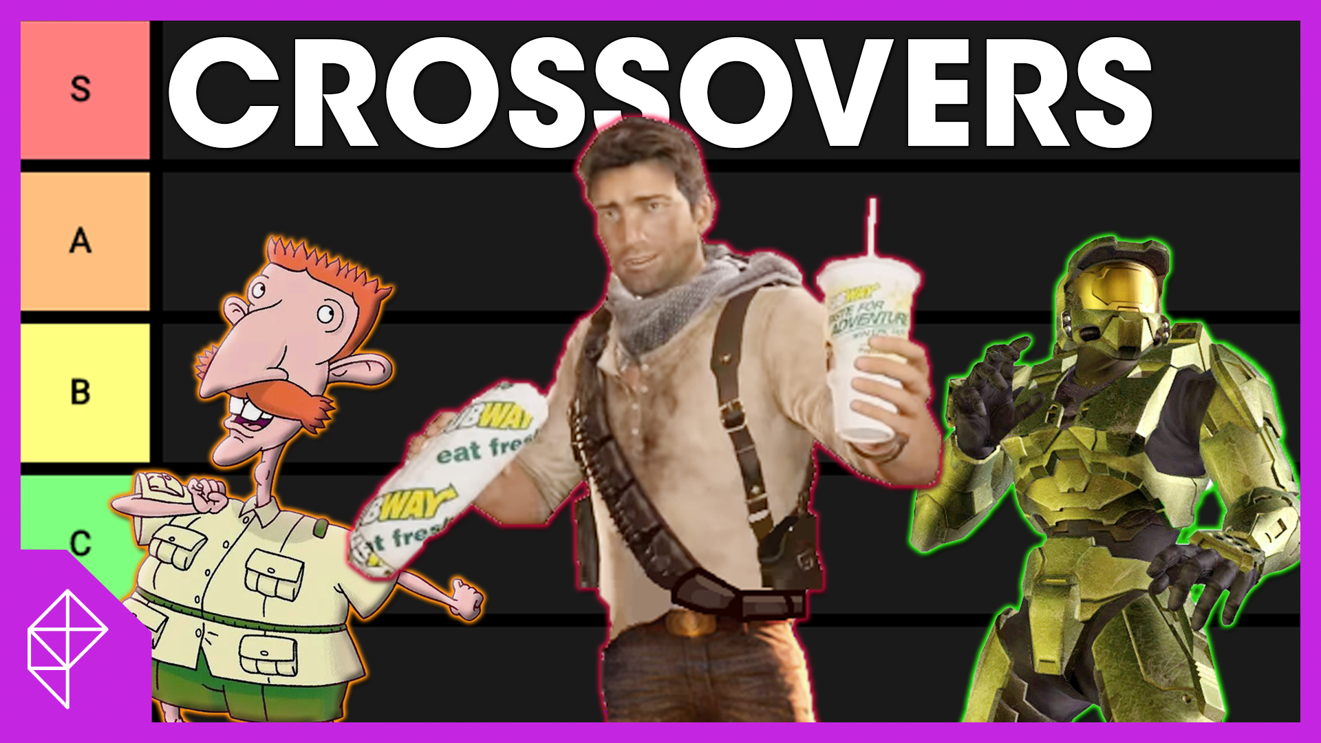 Nigel Thornberry, Nathan Drake, and Spartan 458 are grouped together with a Tier list in the background. All of this under the words Crossovers