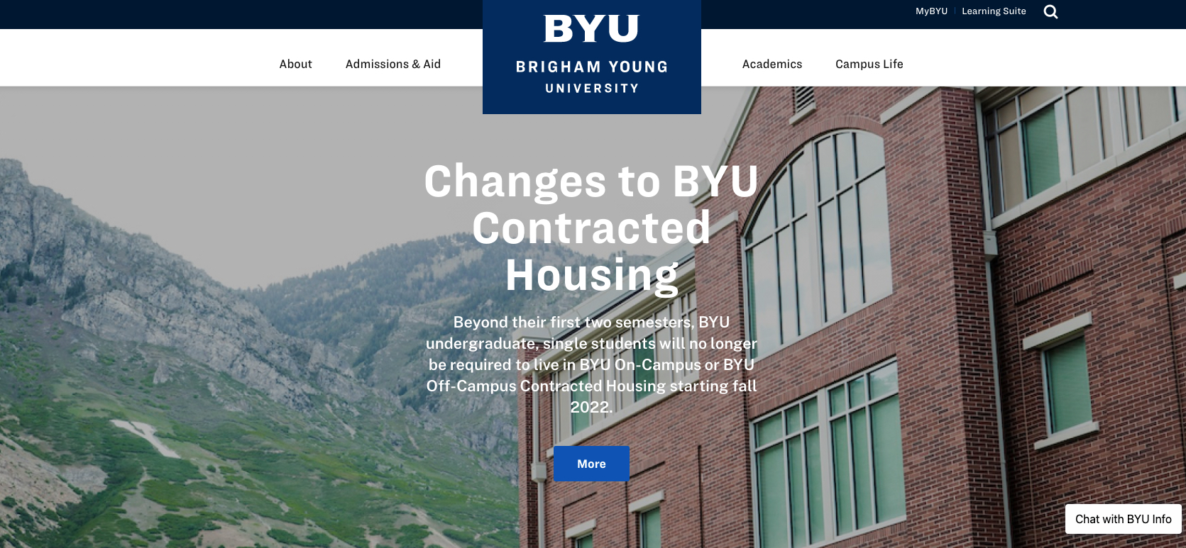 BYU announced a major housing policy change, no longer requiring students to reside in campus dorms or school-approved housing while enrolled.