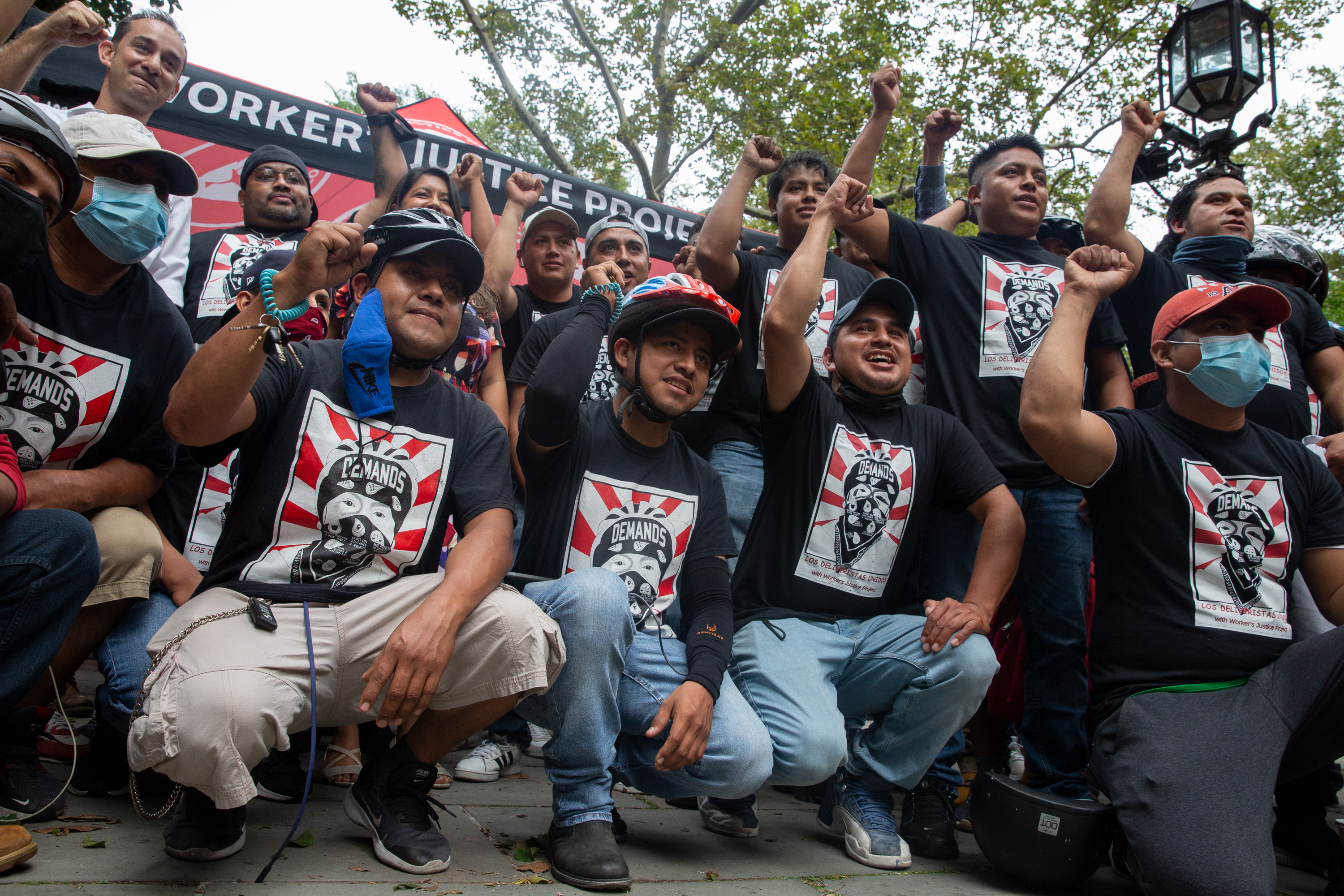 Deliveristas rallied at City Hall ahead of a vote to improve their working conditions, Sept. 23, 2021.