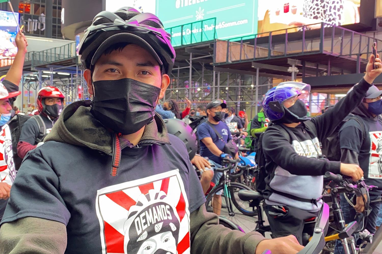 Los Deliveristas Unidos protest in Times Square.