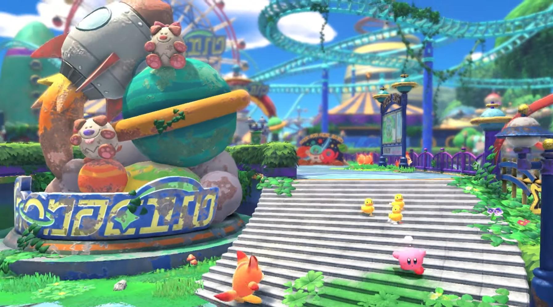 Kirby and the Forgotten Land - Kirby runs down a flight of stairs in an abandoned, overgrown theme park