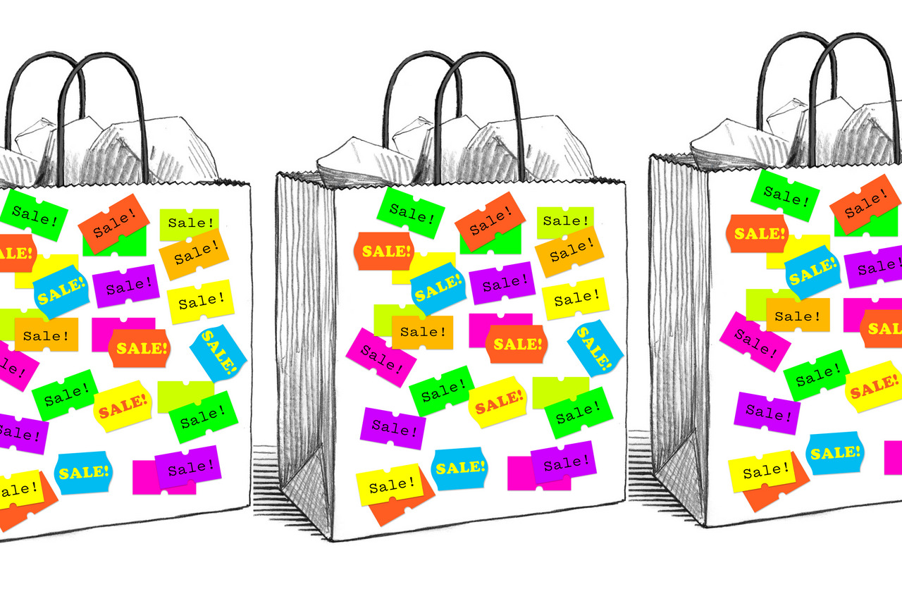 """An illustration of plain grey shopping bags with coloured """"sale"""" labels."""