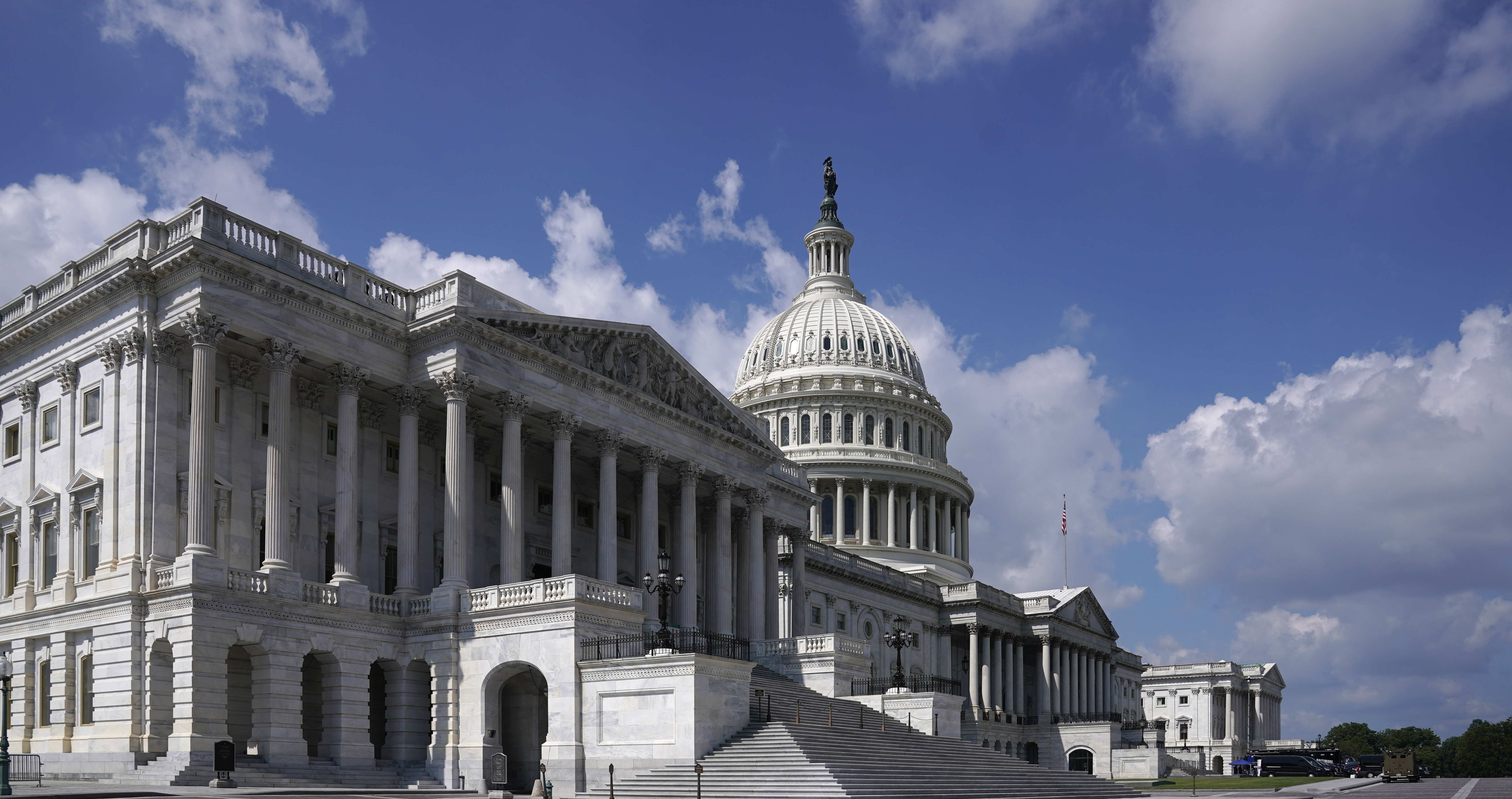 The exterior of the House wing of the U.S. Capitol is shown.