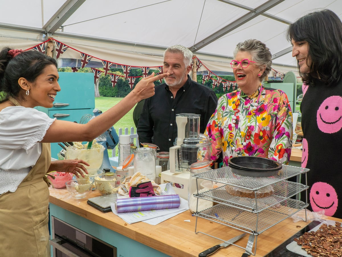 Contestant Crystelle with Paul, Prue, and Noel on Great British Bake Off 2021