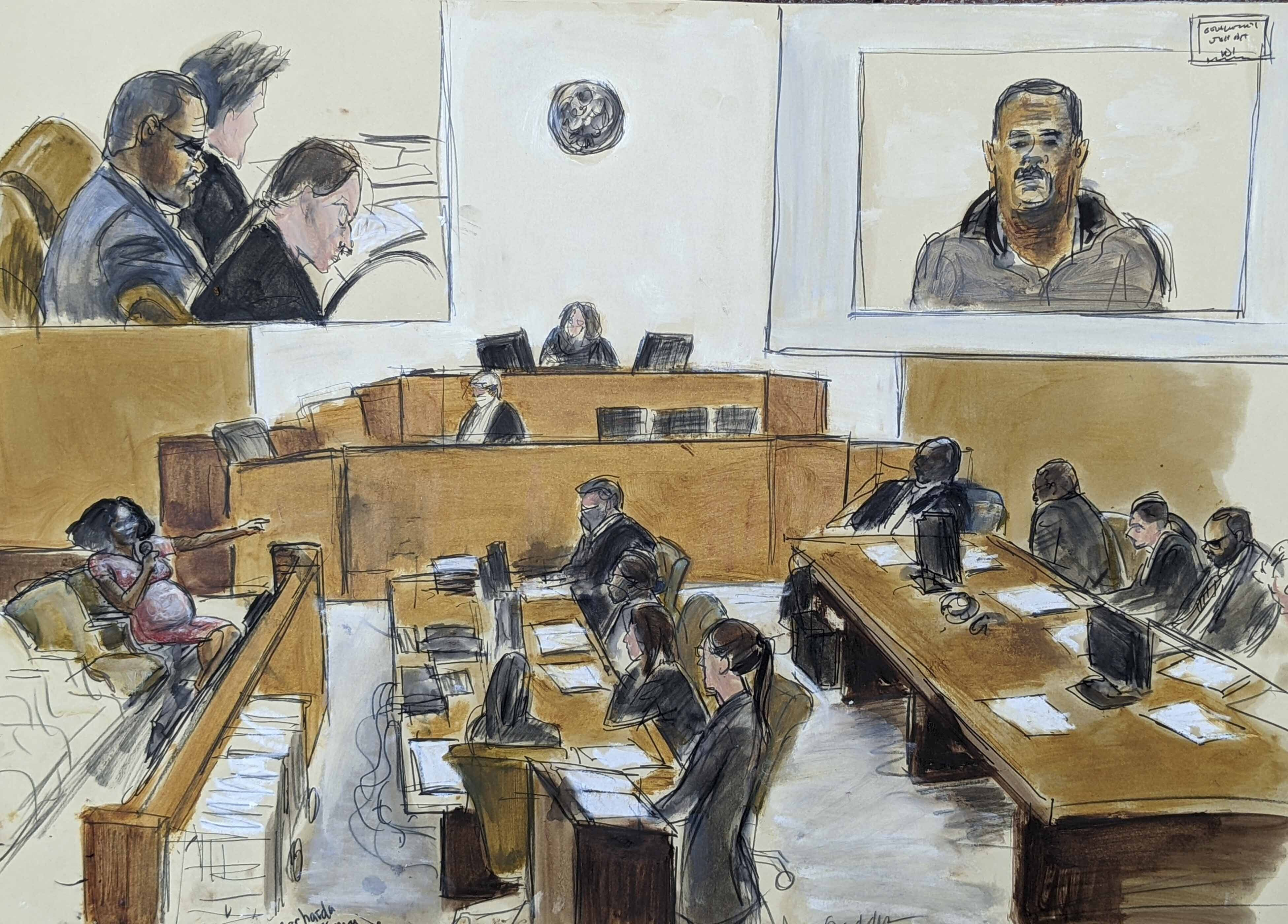 In this courtroom artist's sketch made from a video screen monitor of a Brooklyn courtroom, defendant R. Kelly, top left, listens as Jerhonda Pace, far left, testifies against the R&B star during the singer's sex abuse trial, Wednesday Aug. 18, 2021, in New York.